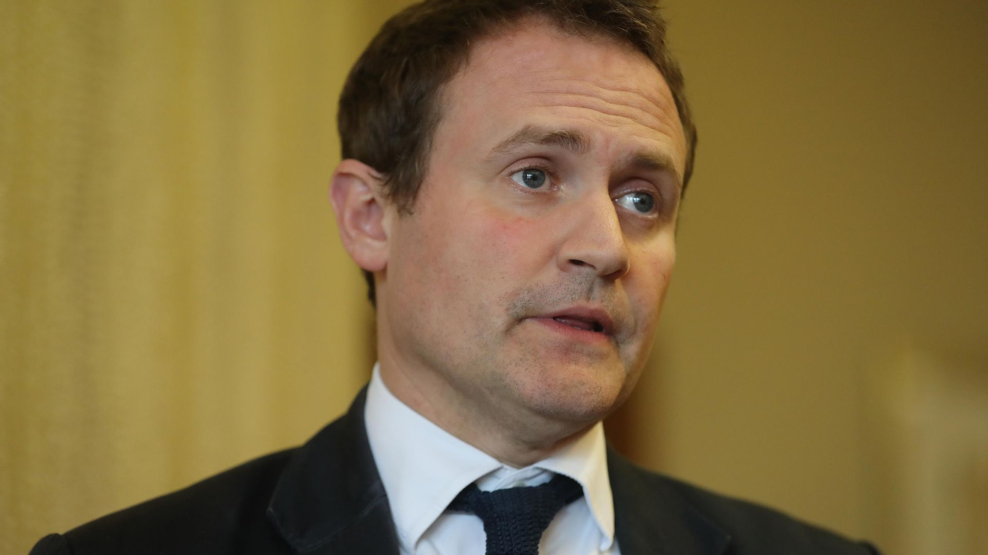 Committee chairman Tom Tugendhat speaking to the media at the Armagh city hotel - Credit: PA