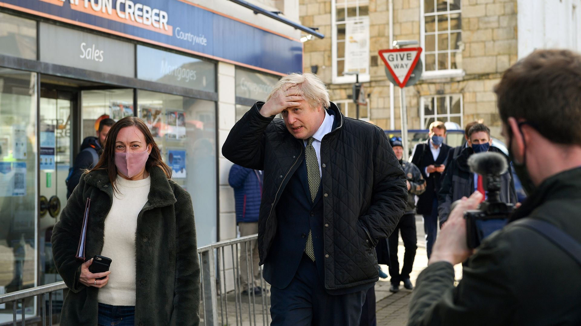 Prime Minister Boris Johnson during a visit to Truro, Cornwall - Credit: PA