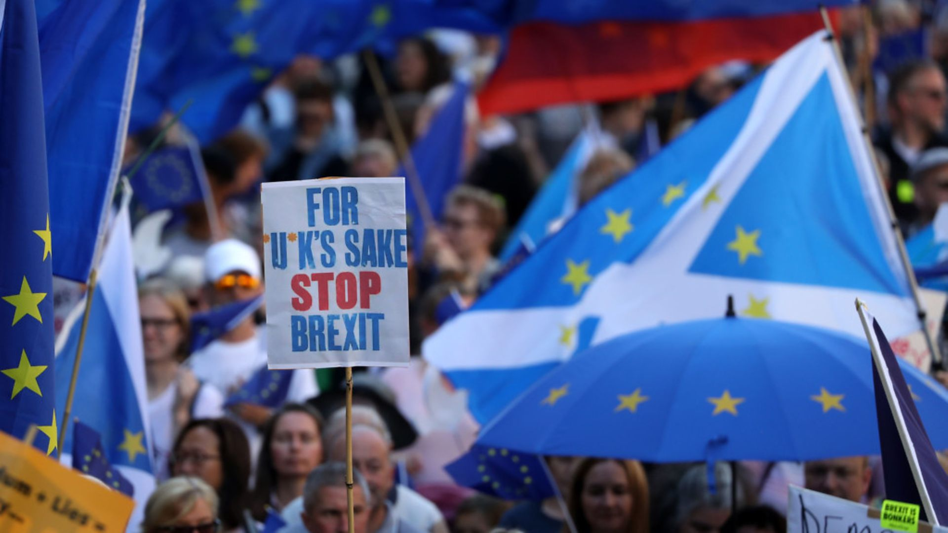 Protestors during the March to Remain in the EU in Edinburgh - Credit: PA