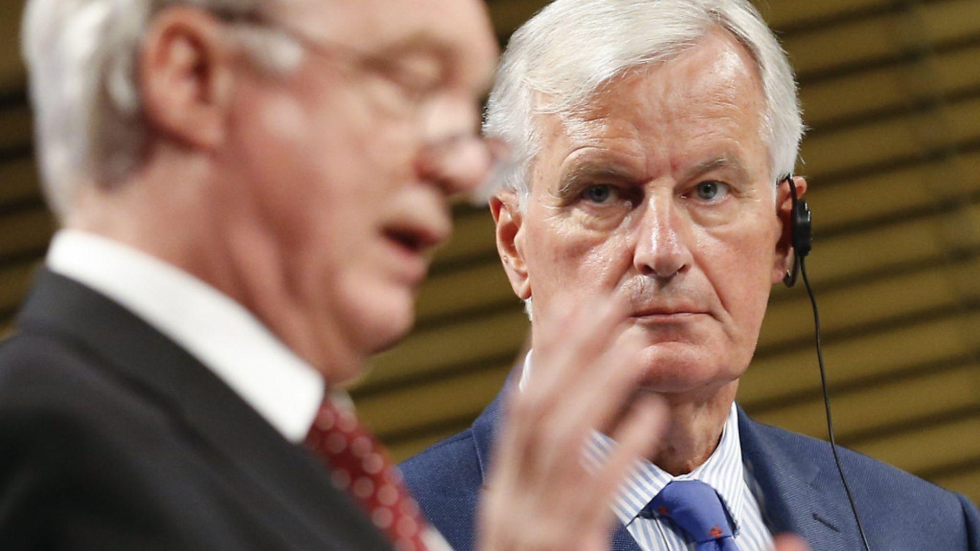 Michel Barnier looks on as former Brexit secretary David Davis speaks in 2017 - Credit: Xinhua News Agency/PA Images