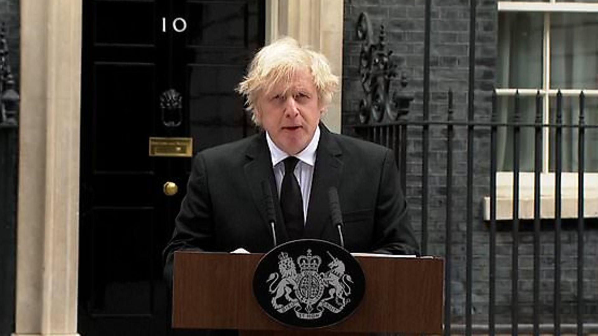 Boris Johnson pays tribute to the Duke of Edinbugh on the doorstep of Number 10 - Credit: PA
