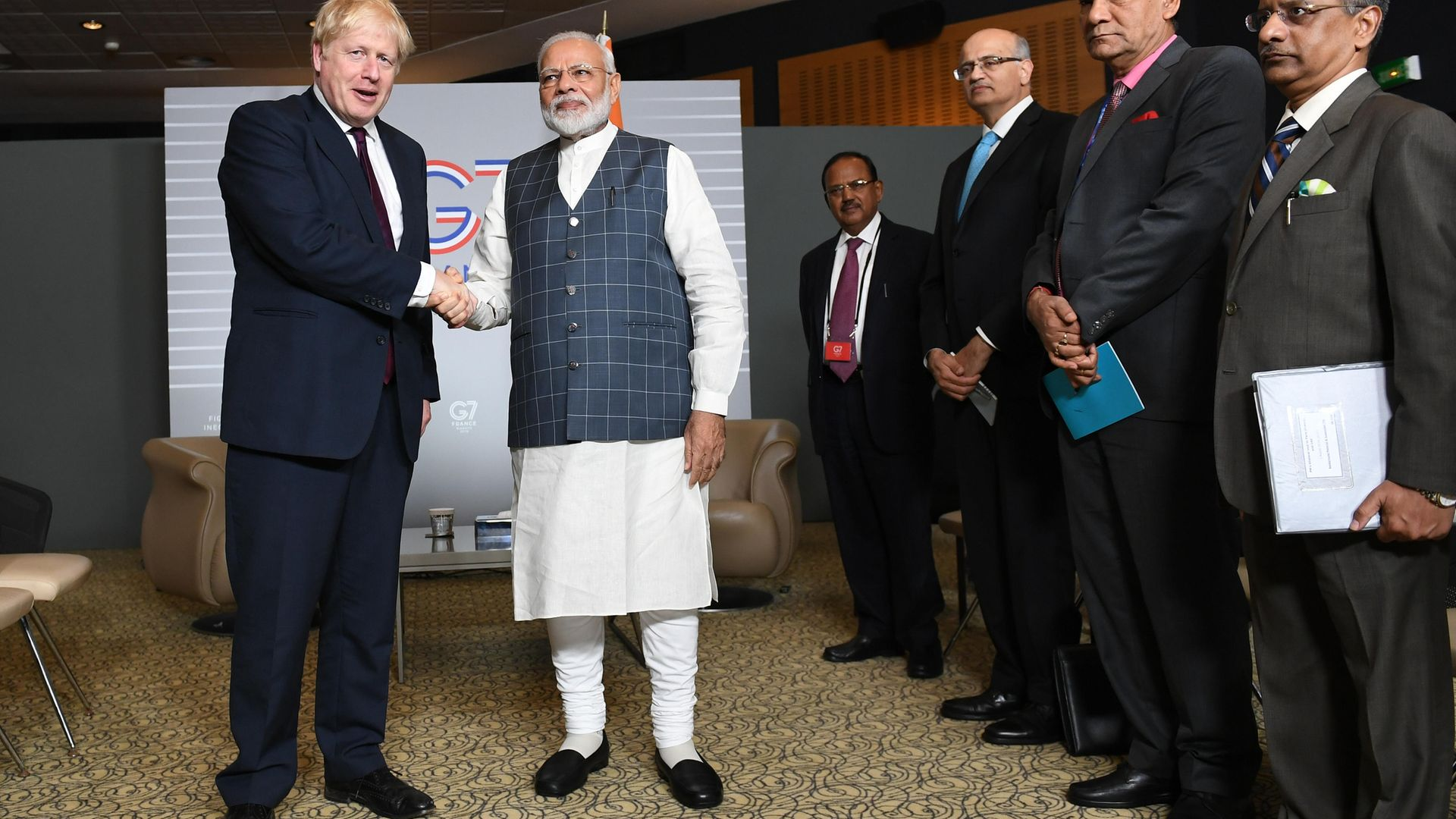 Prime minister Boris Johnson meeting India PM Narendra Modi for bilateral talks during the G7 summit in Biarritz, France in 2019 - Credit: PA
