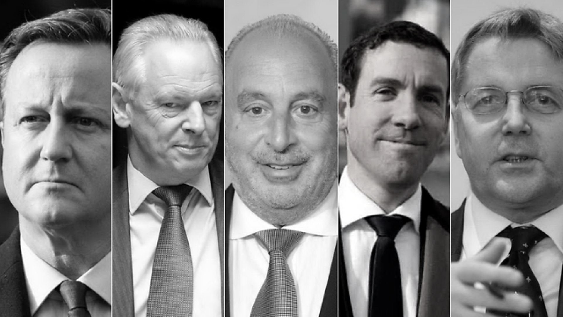 Phillip Green, David Cameron, Francis Maude, Lex Greensill and Jeremy Heywood - Credit: Getty Images