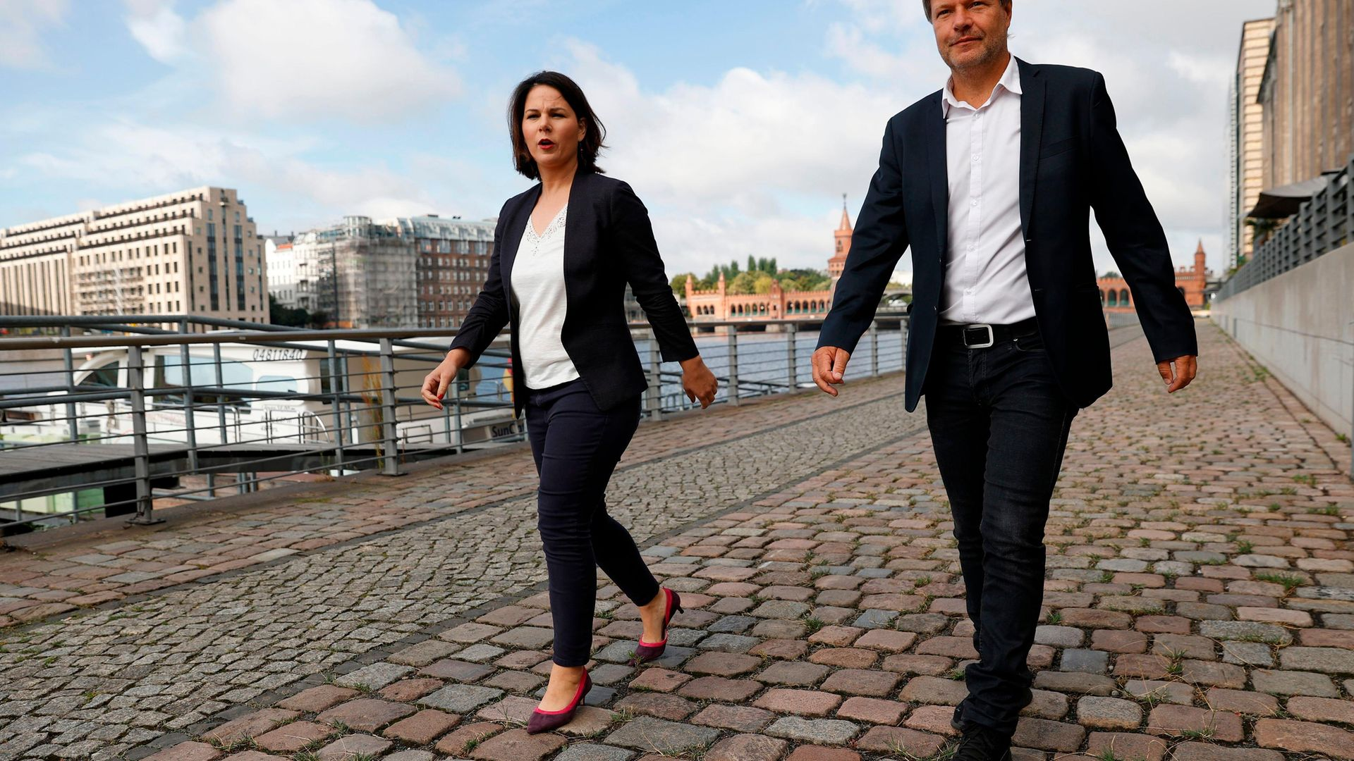 Annalena Baerbock (L) beat co-leader Robert Habeck on Monday to represent the Greens' in the federal election in September in which the party is widely tipped to do well - Credit: AFP via Getty Images