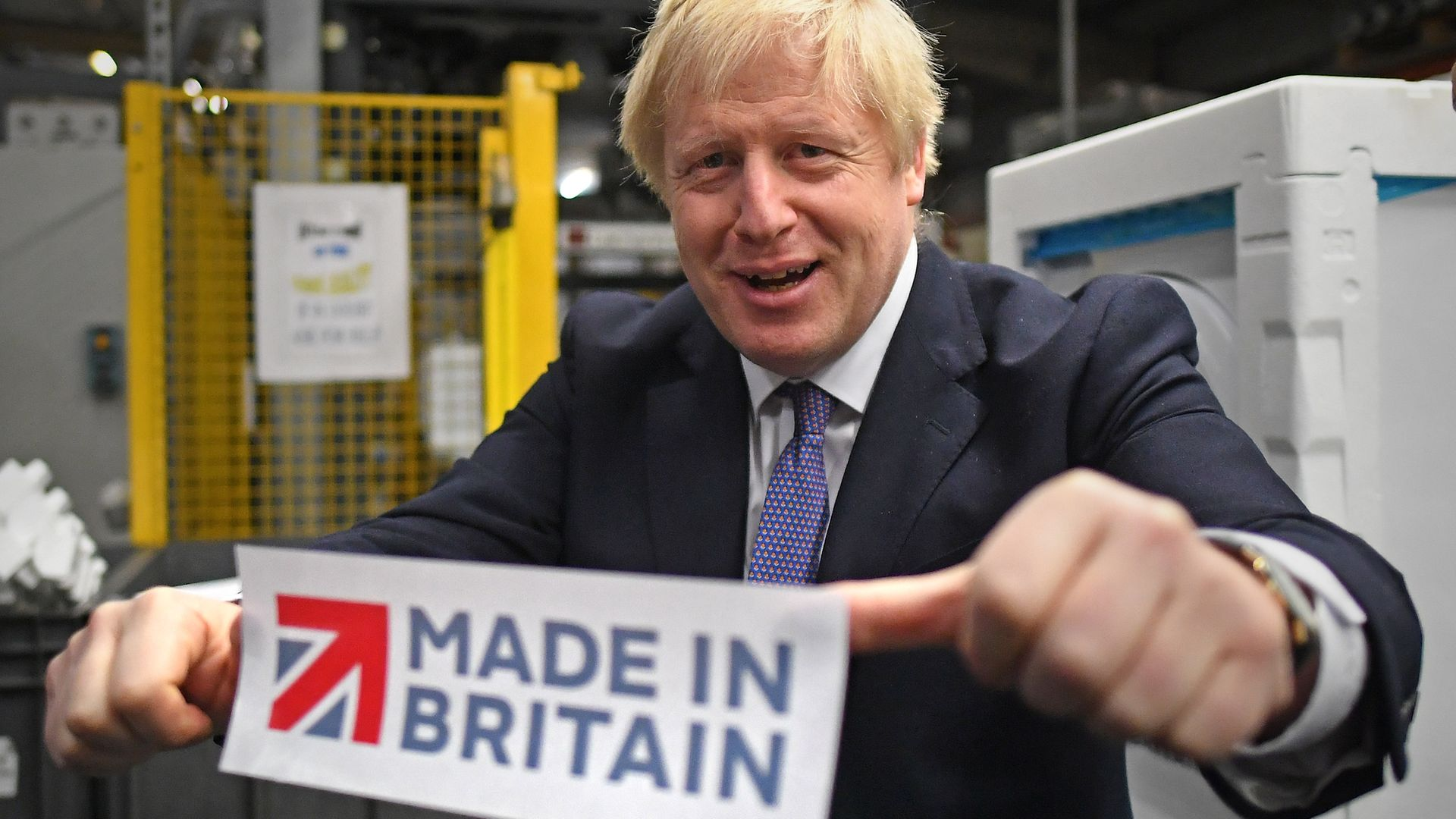Prime Minister Boris Johnson during a visit to washing machine manufacturer Ebac in Newton Aycliffe while election campaigning in the North East, ahead of the General Election. - Credit: PA