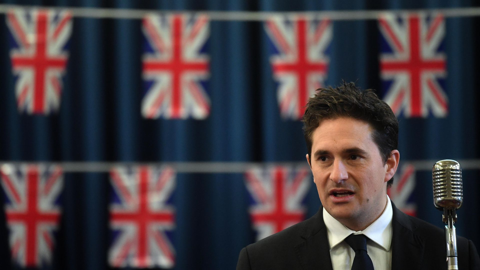 Veterans Minister Johnny Mercer speaks to pupils at Sandhurst Primary School in south east London, to raise awareness of the 75th anniversaries of VE and VJ day last year. - Credit: PA