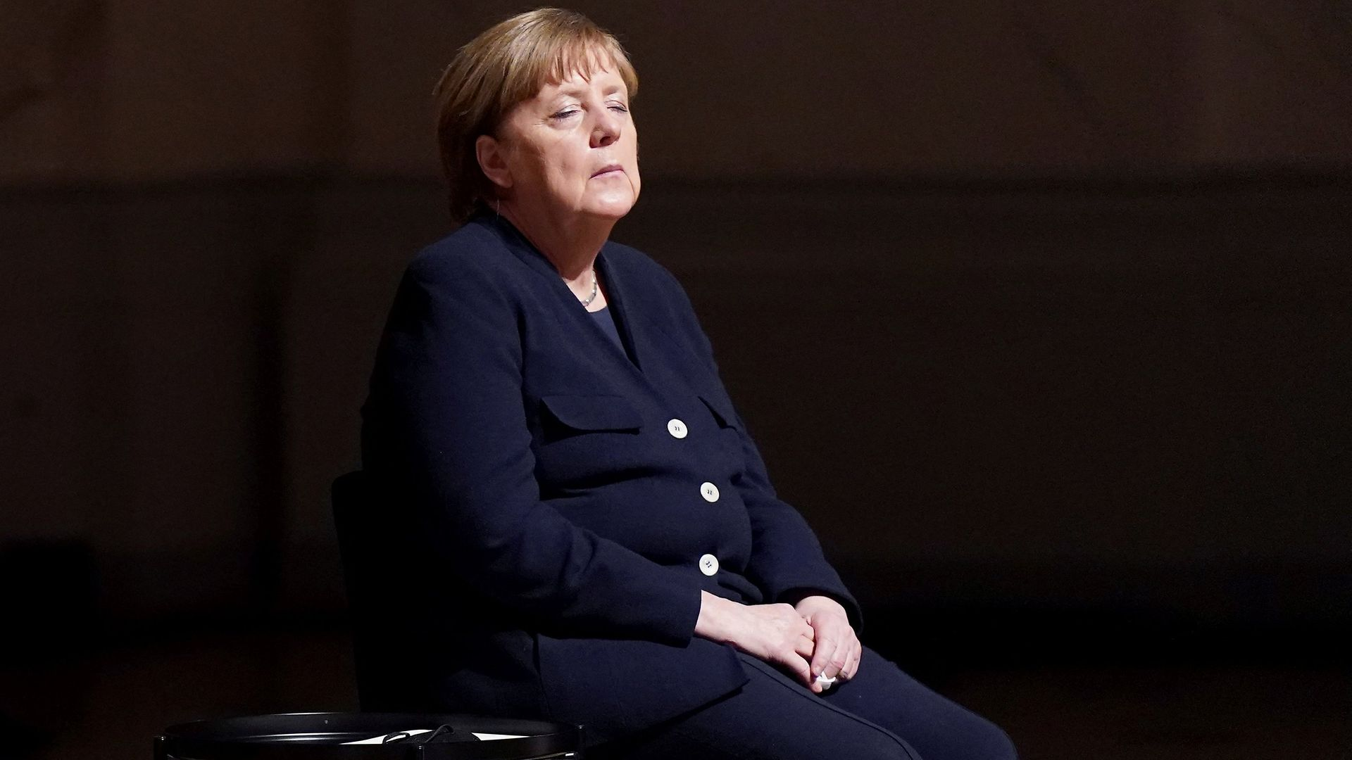 German Chancellor Angela Merkel attends a ceremony for Germany's victims of the coronavirus pandemic - Credit: POOL/AFP via Getty Images