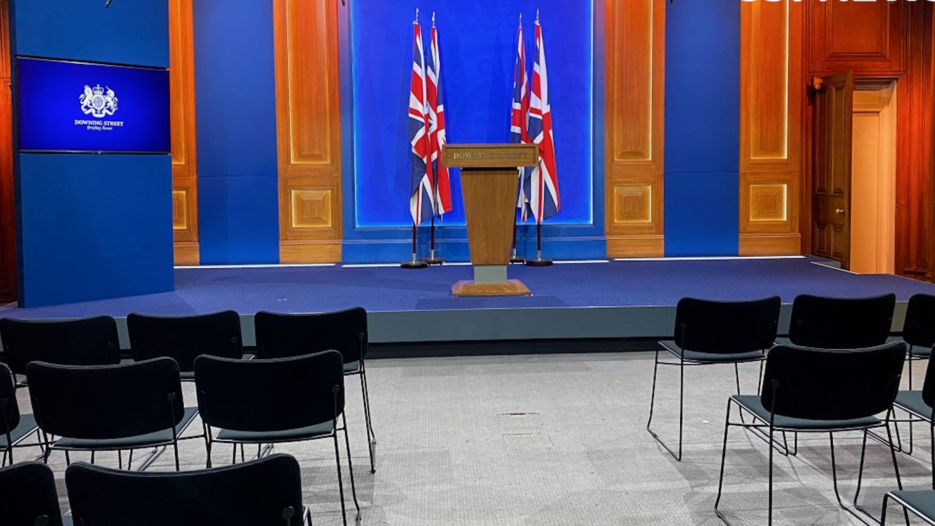 Downing Street's new White-House style media briefing room - Credit: PA