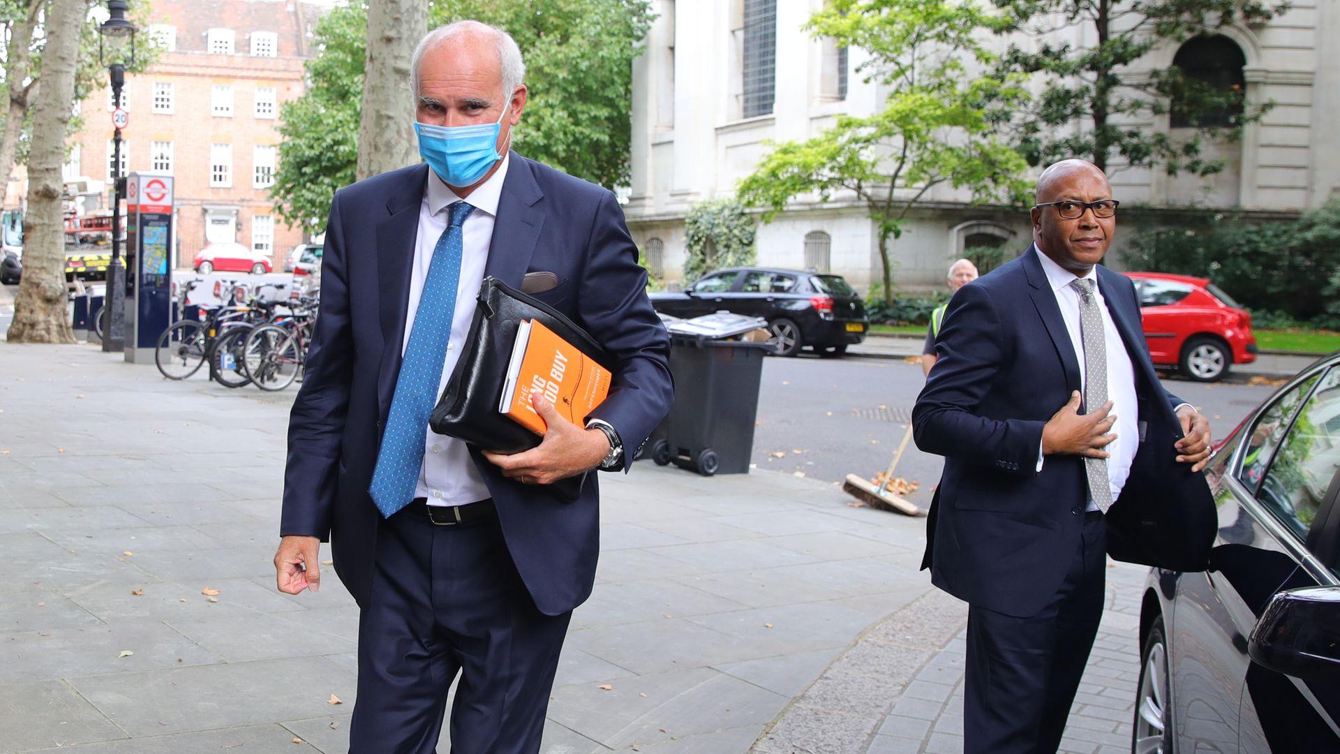 EU Ambassador to the UK, Portuguese diplomat Joao Vale de Almeida (left) arriving at Europe House in Westminster, London. - Credit: PA