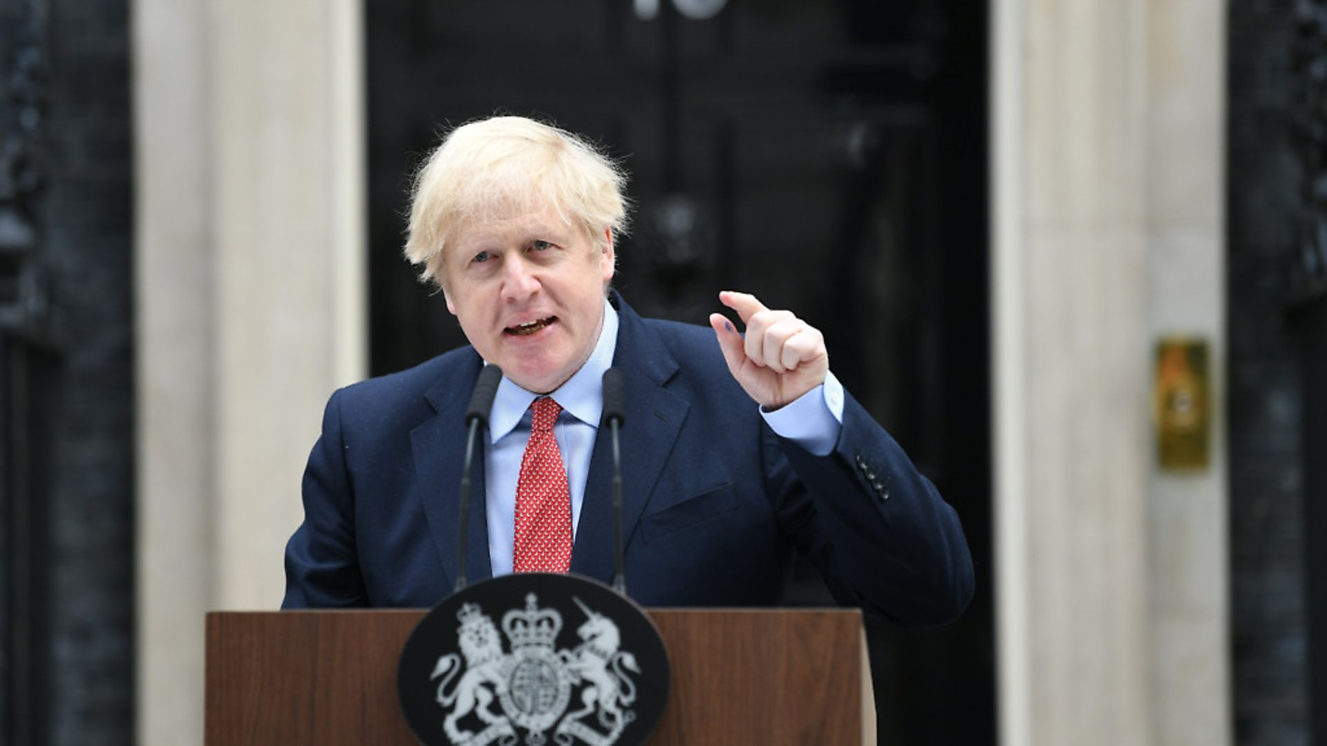 Prime Minister Boris Johnson makes a statement outside 10 Downing Street, London, as he resumes working after spending two weeks recovering from Covid-19. Picture: Stefan Rousseau/PA - Credit: PA