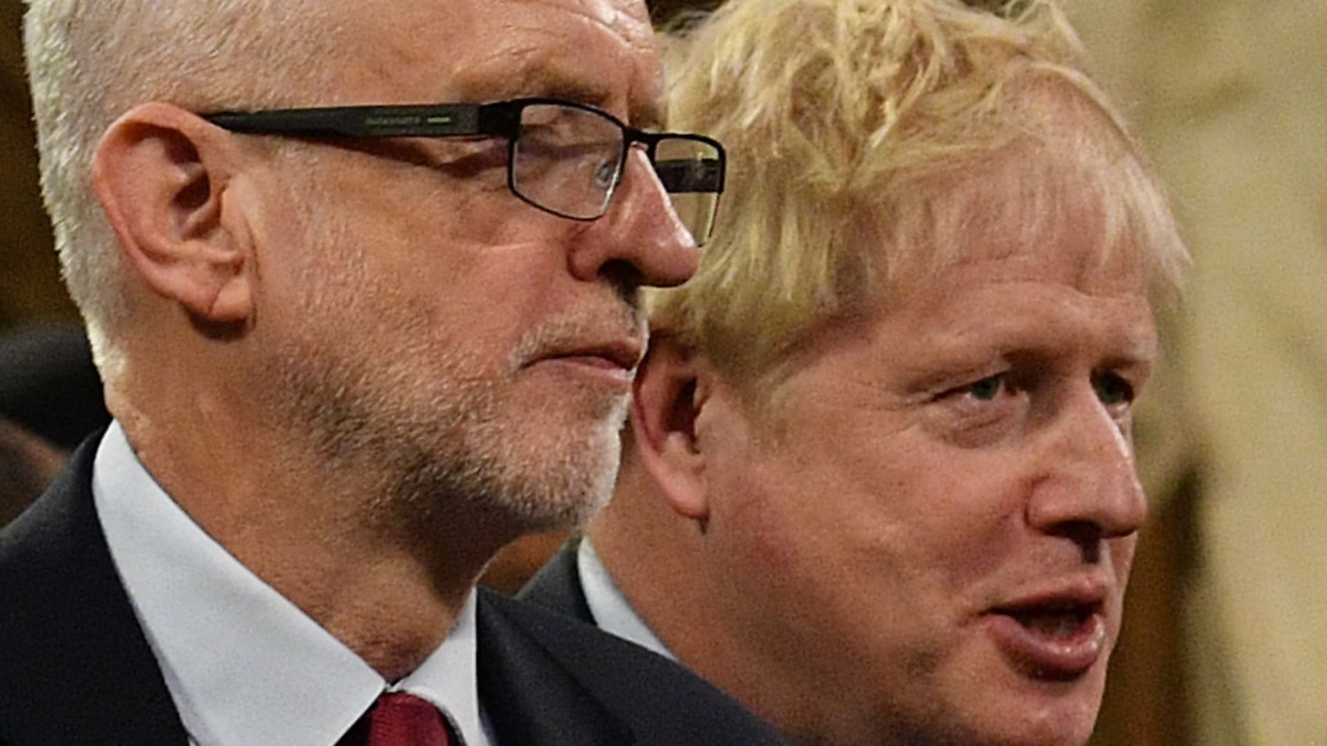 Prime Minister Boris Johnson (right) speaks with Jeremy Corbyn in the Central Lobby before the election. Picture: Daniel Leal-Olivas/PA. - Credit: PA Wire/PA Images
