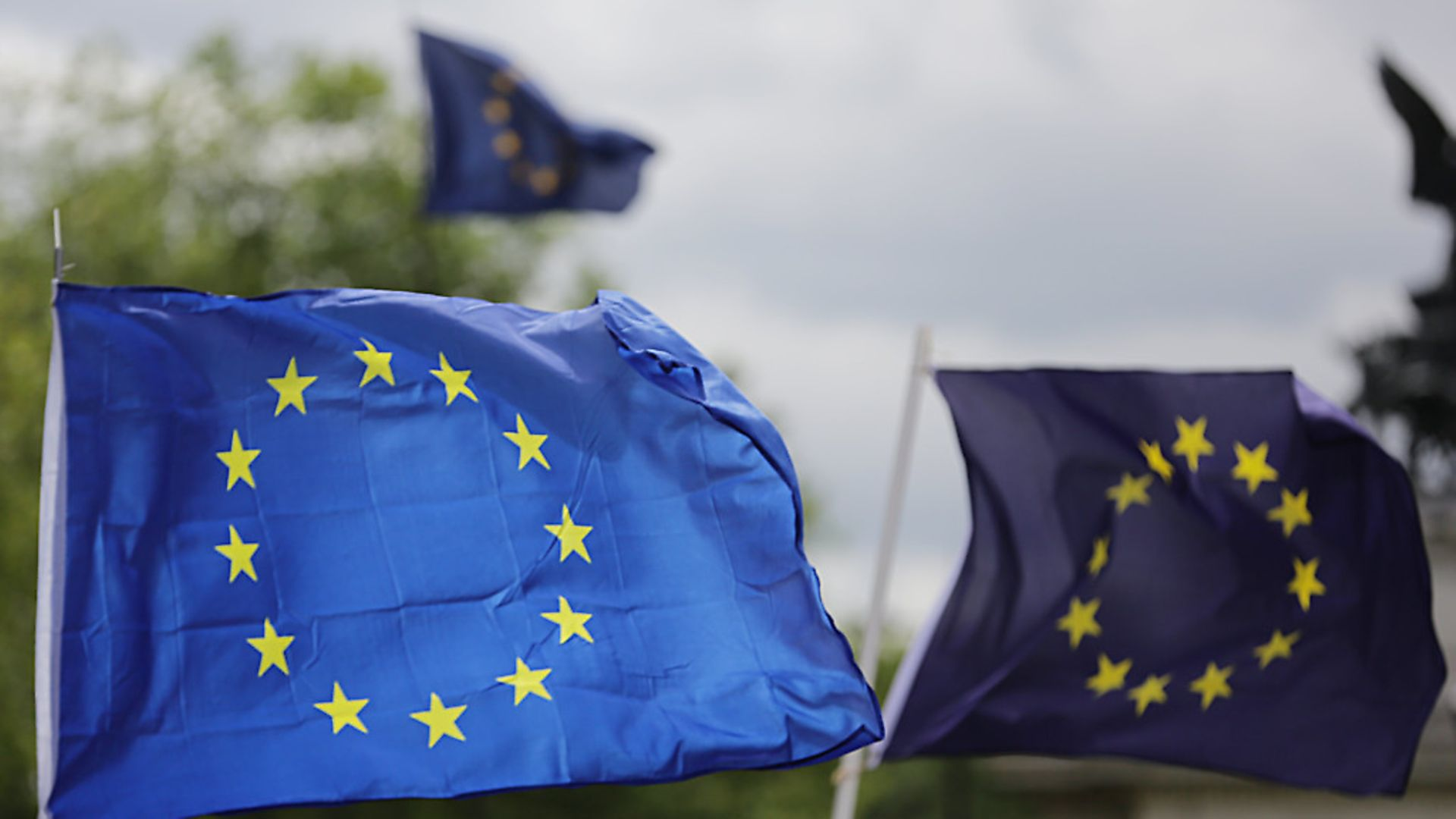 European flags fly in Parliament Square. Photograph: Daniel Leal-Olivas/PA. - Credit: PA