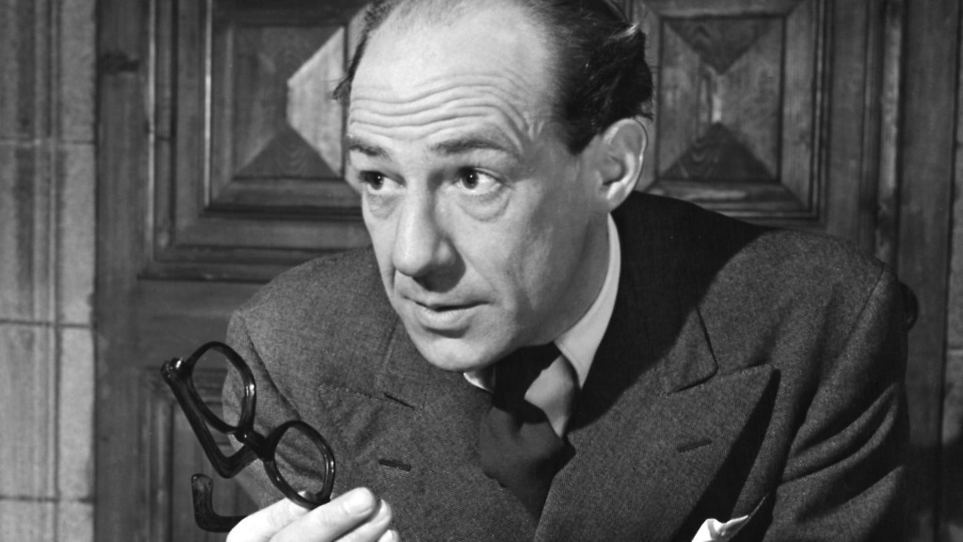 English actor Michael Hordern (1911 - 1995) as Christopher Williams, head of the National Atomic Board, in the stage adaptation of the television play 'Party Manners', by Val Gielgud, October 1950. Photo: George Konig/Keystone Features/Hulton Archive/Getty Images - Credit: Getty Images
