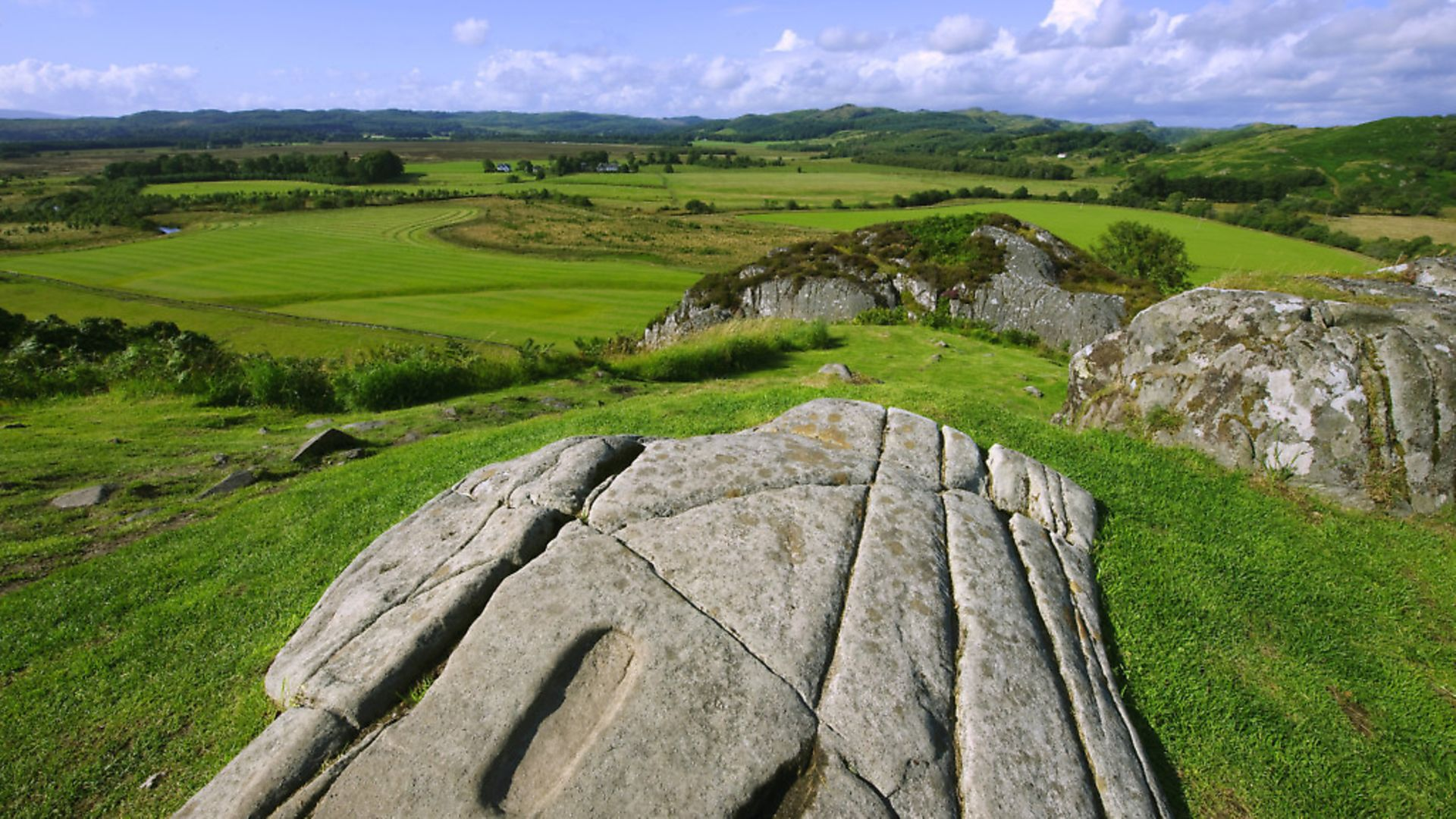 Dunadd Hill Fort, the original crowning place of the Kings of Scotland, Lochgilphead, Argyll, Scotland, United Kingdom. (Photo by: Universal Images Group via Getty Images) - Credit: Universal Images Group via Getty