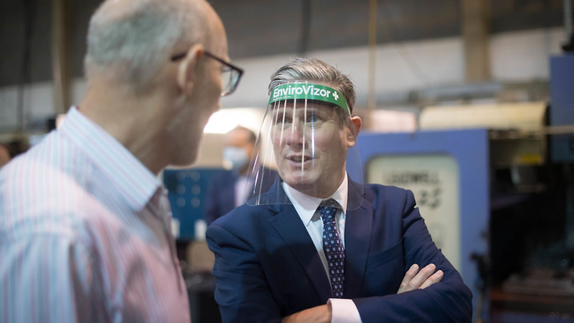 Labour leader Sir Keir Starmer discusses employment and post Covid-19 support for businesses with staff at engineering components manufacturer, Beard and Fitch in Harlow. Photograph: Stefan Rousseau/PA Wire. - Credit: PA