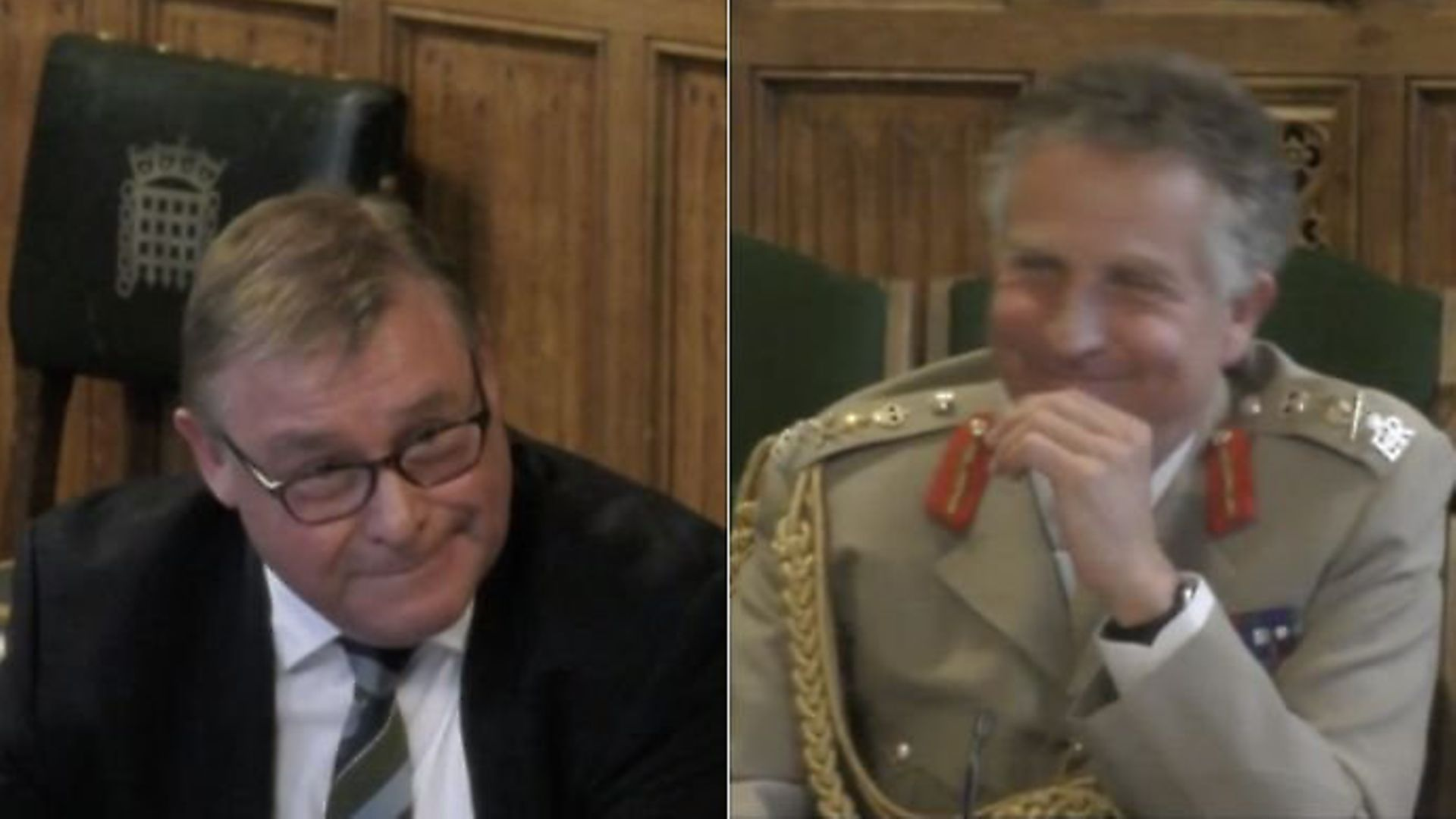 Mark Francois (left) and army general Nick Carter (right). Photograph: Parliament TV. - Credit: Archant
