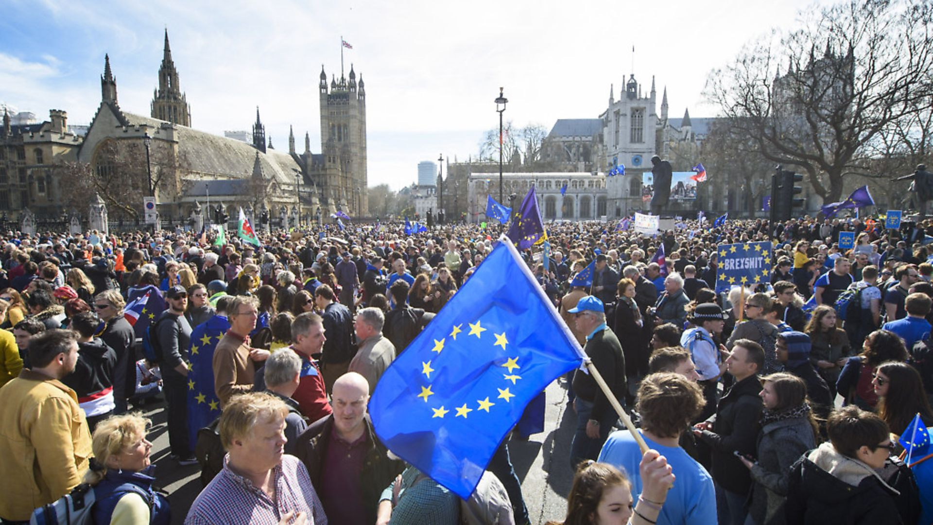 Remainers at a March for Europe event. Photograph: Matt Crossick/ EMPICS Entertainment. - Credit: Empics Entertainment