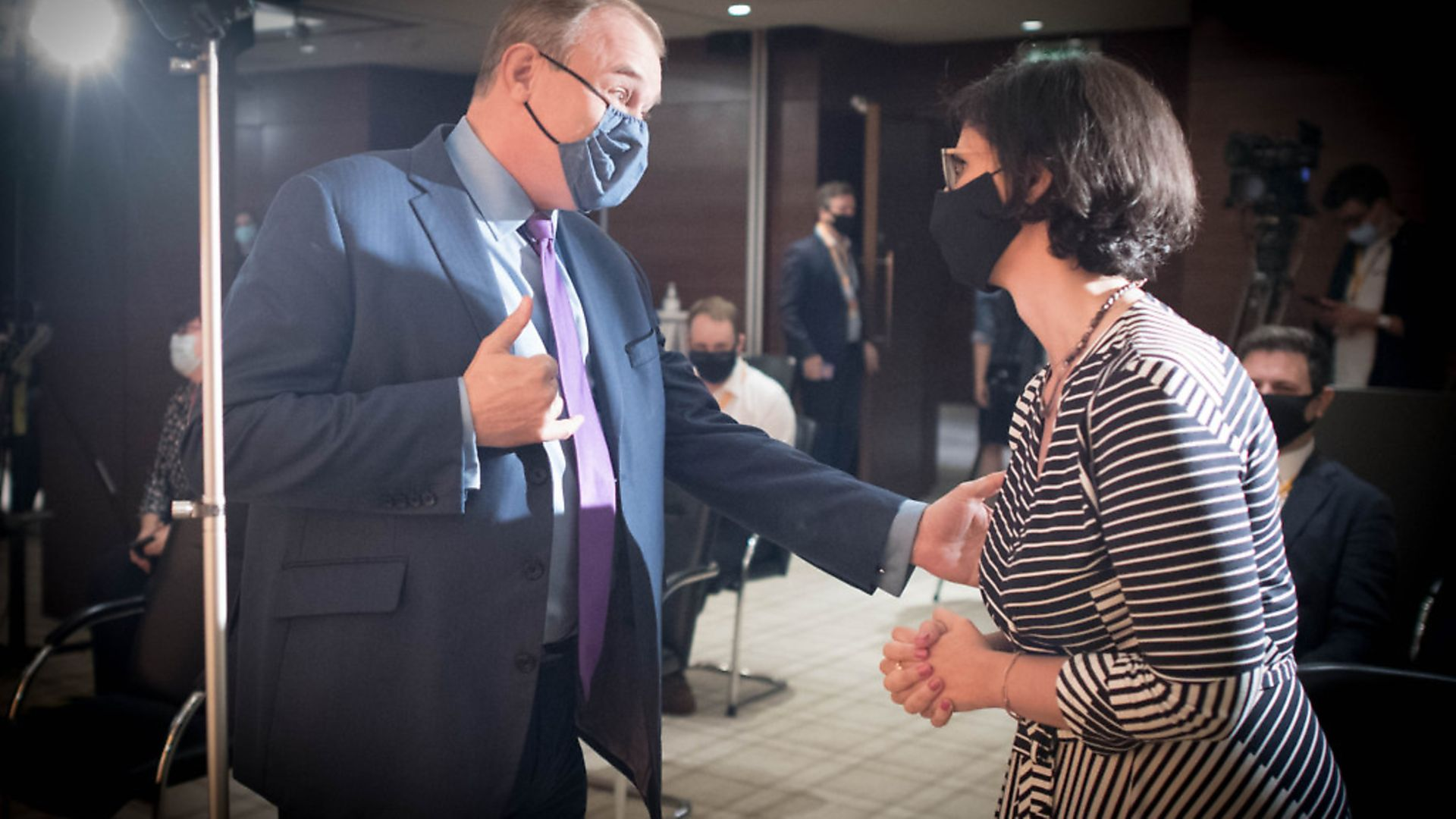 Sir Ed Davey at the Conrad Hotel, Westminster, with Layla Moran. Photograph: Stefan Rousseau/PA Wire. - Credit: PA