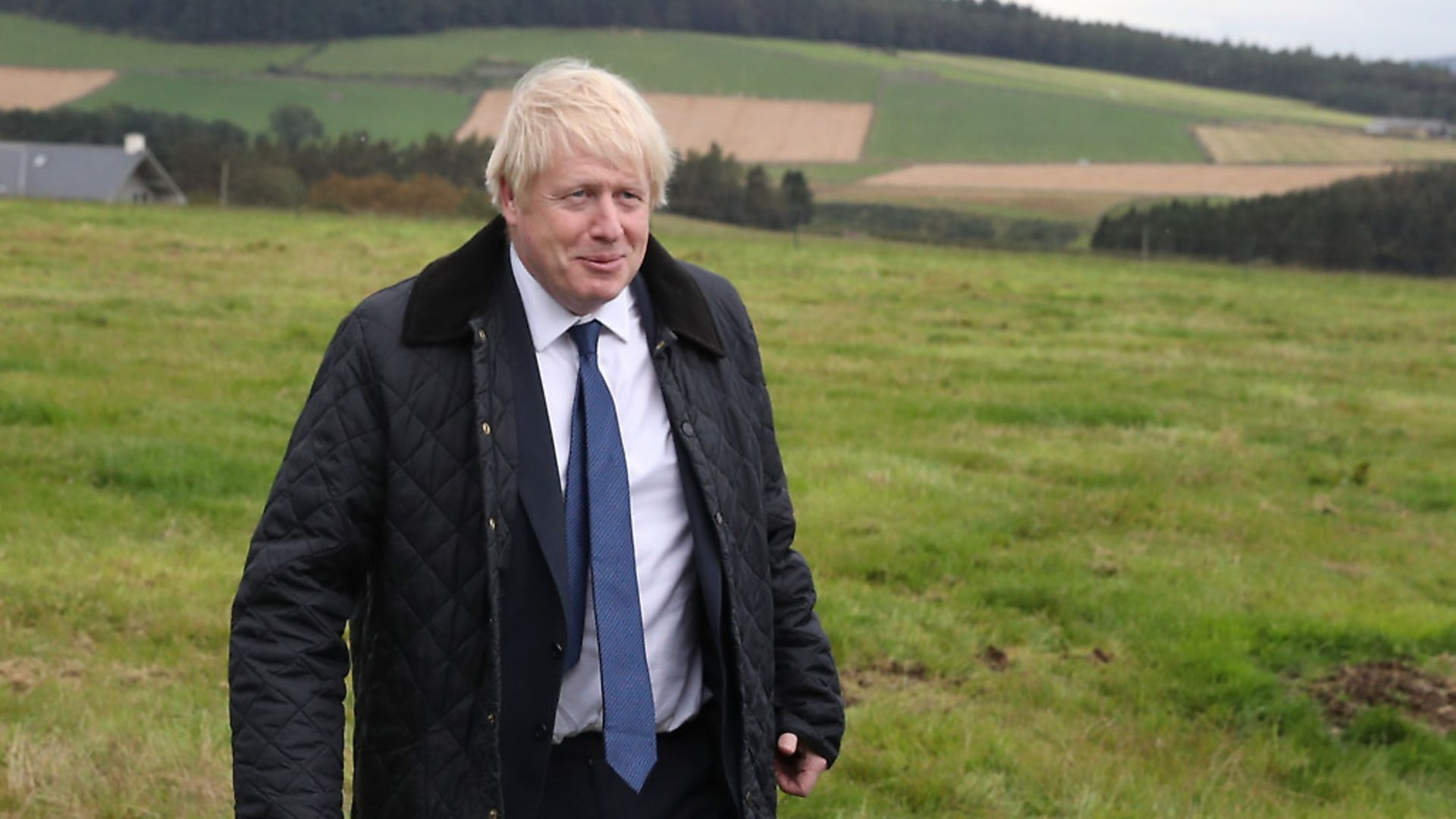 Prime Minister Boris Johnson during a visit to Darnford Farm in Banchory near Aberdeen. Photograph: Andrew Milligan/PA. - Credit: PA Wire/PA Images