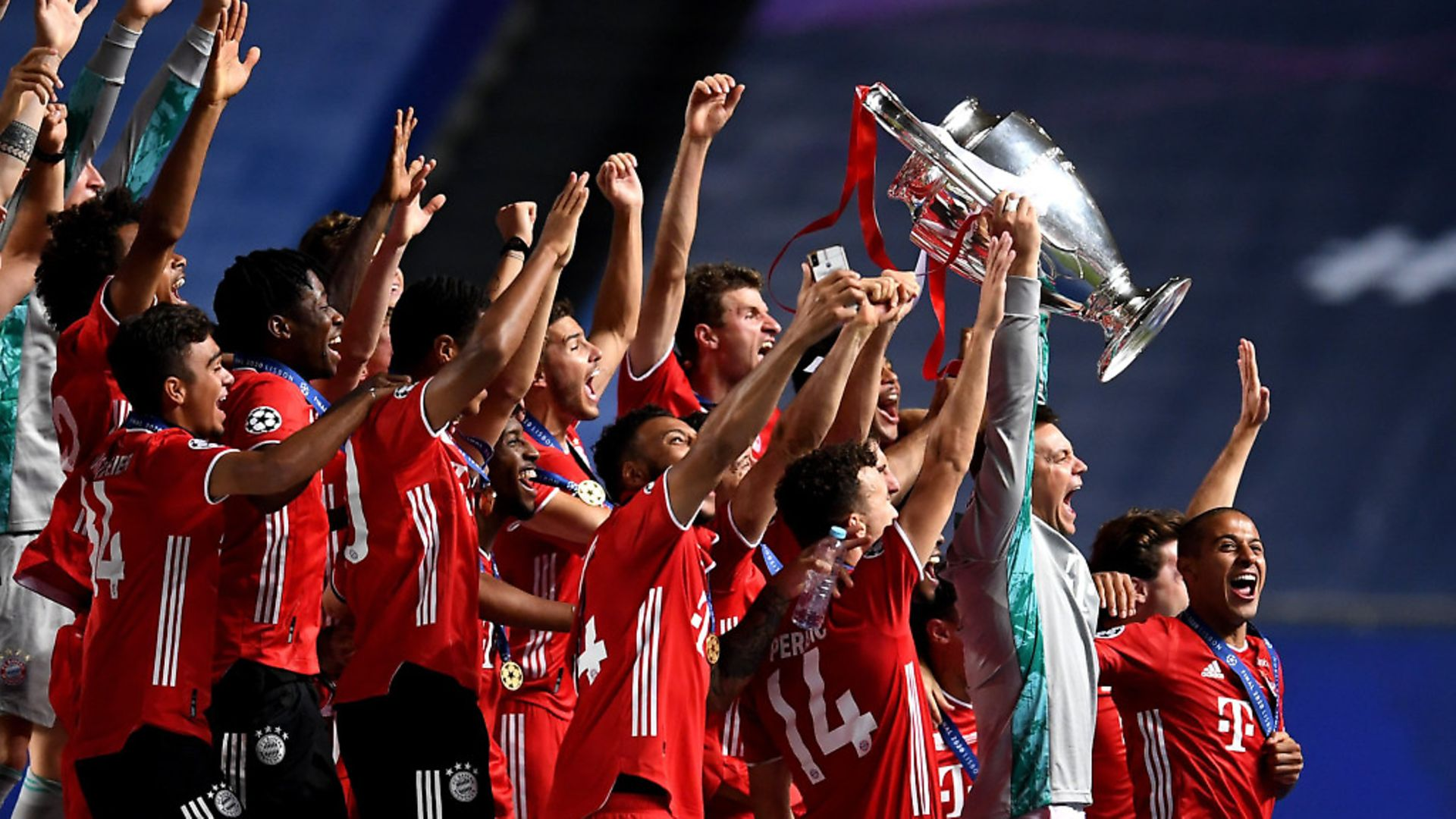 Manuel Neuer, captain of FC Bayern Munich lifts the UEFA Champions League Trophy following his team's victory in the UEFA Champions League Final match between Paris Saint-Germain and Bayern Munich at Estadio do Sport Lisboa e Benfica on August 23, 2020 in Lisbon, Portugal. (Photo by David Ramos/Getty Images) - Credit: Getty Images