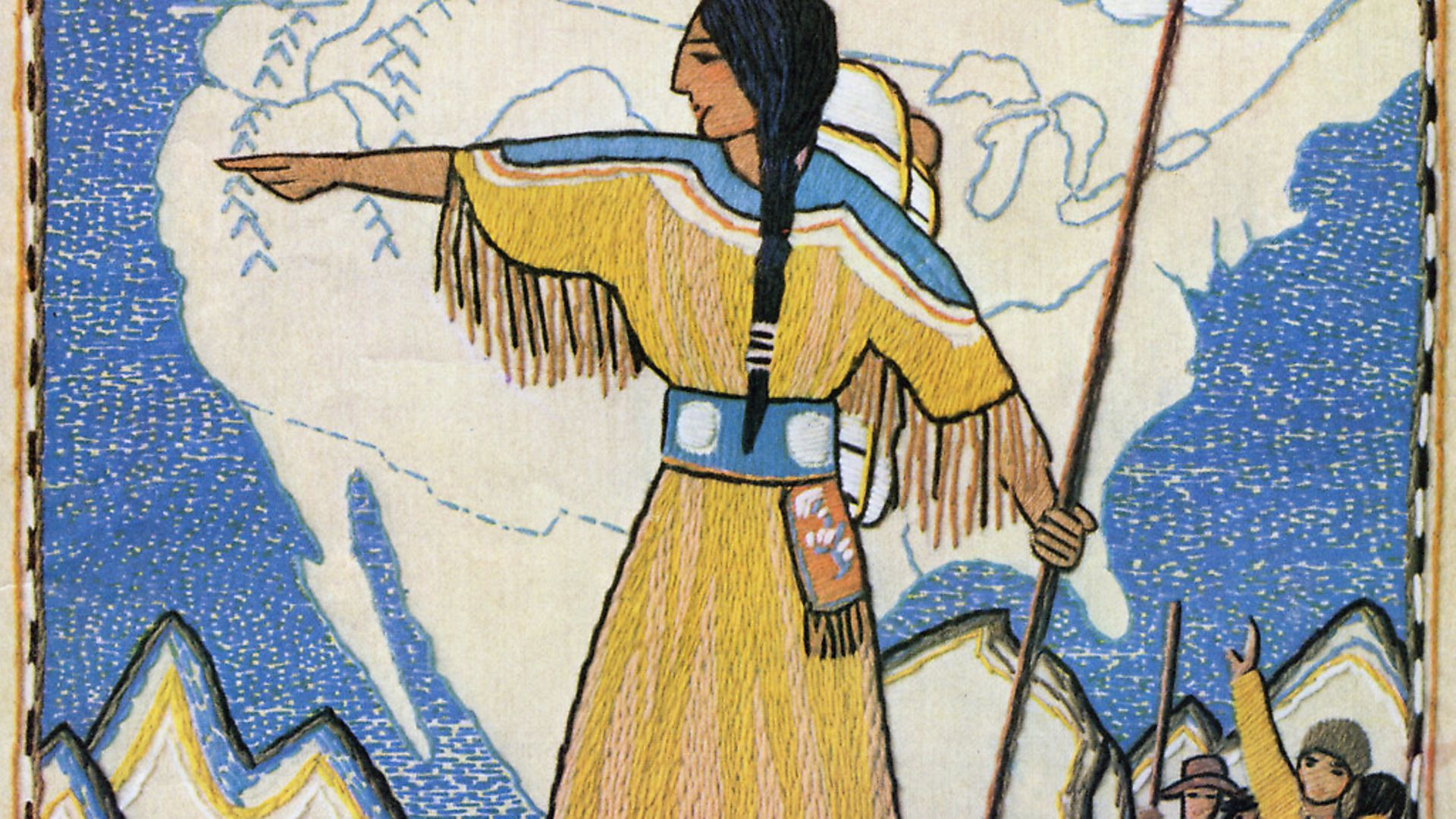 Vintage illustration of Sacajawea on the Lewis and Clark Trail, from the 1804 expedition; screen print, 1933. After a needlepoint design. (Photo by GraphicaArtis/Getty Images) - Credit: Getty Images