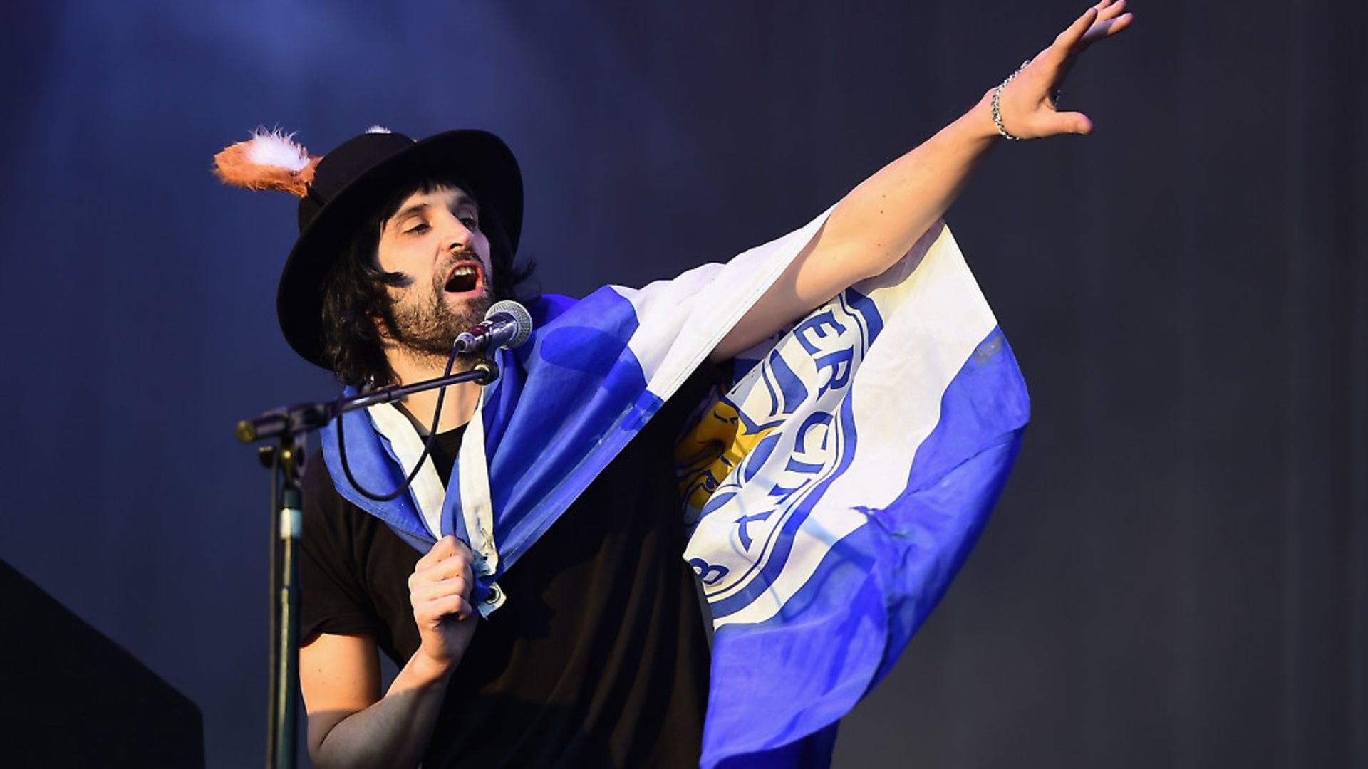 Sergio Pizzorno of Kasabian performs during the Leicester City Barclays Premier League winners bus parade on May 16, 2016 in Leicester. Photo by Laurence Griffiths/Getty Images - Credit: Getty Images
