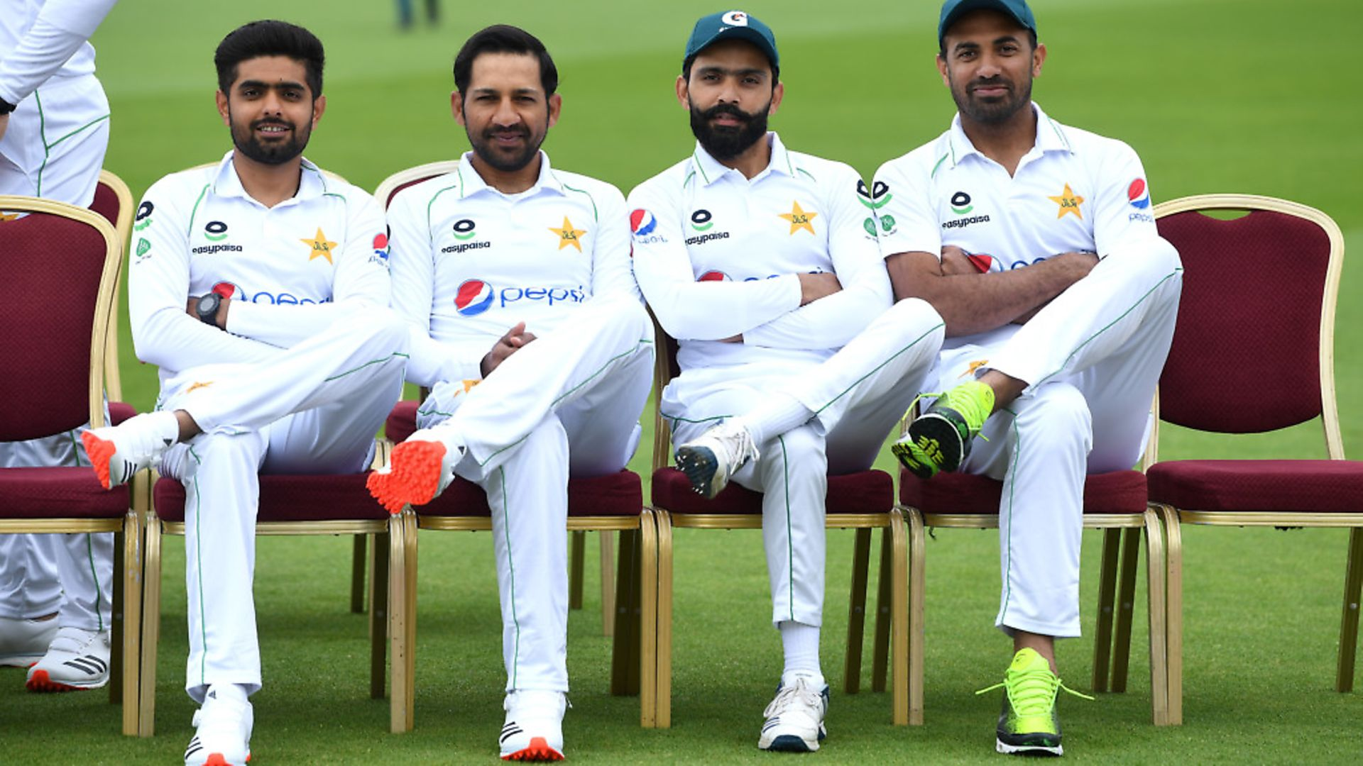 Babar Azam, Sarfaraz Ahmed, Fawad Alam and Wahab Riaz of Pakistan pose for a photo during a Pakistan Nets Session at Emirates Old Trafford on August 04, 2020 in Manchester. (Photo by Gareth Copley/Getty Images) - Credit: Getty Images