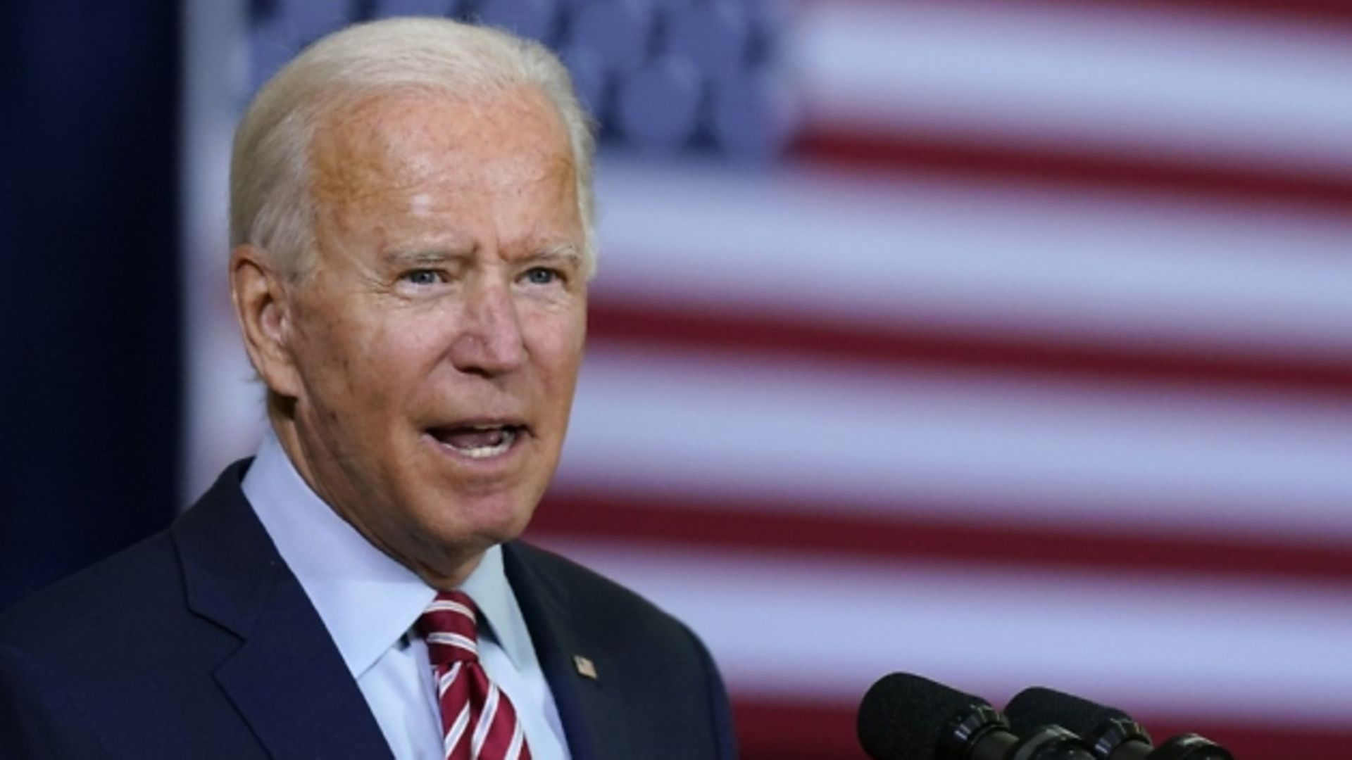 Democratic presidential candidate Joe Biden speaks before participating in a roundtable discussion with veterans. Photograph: AP Photo/Patrick Semansky.