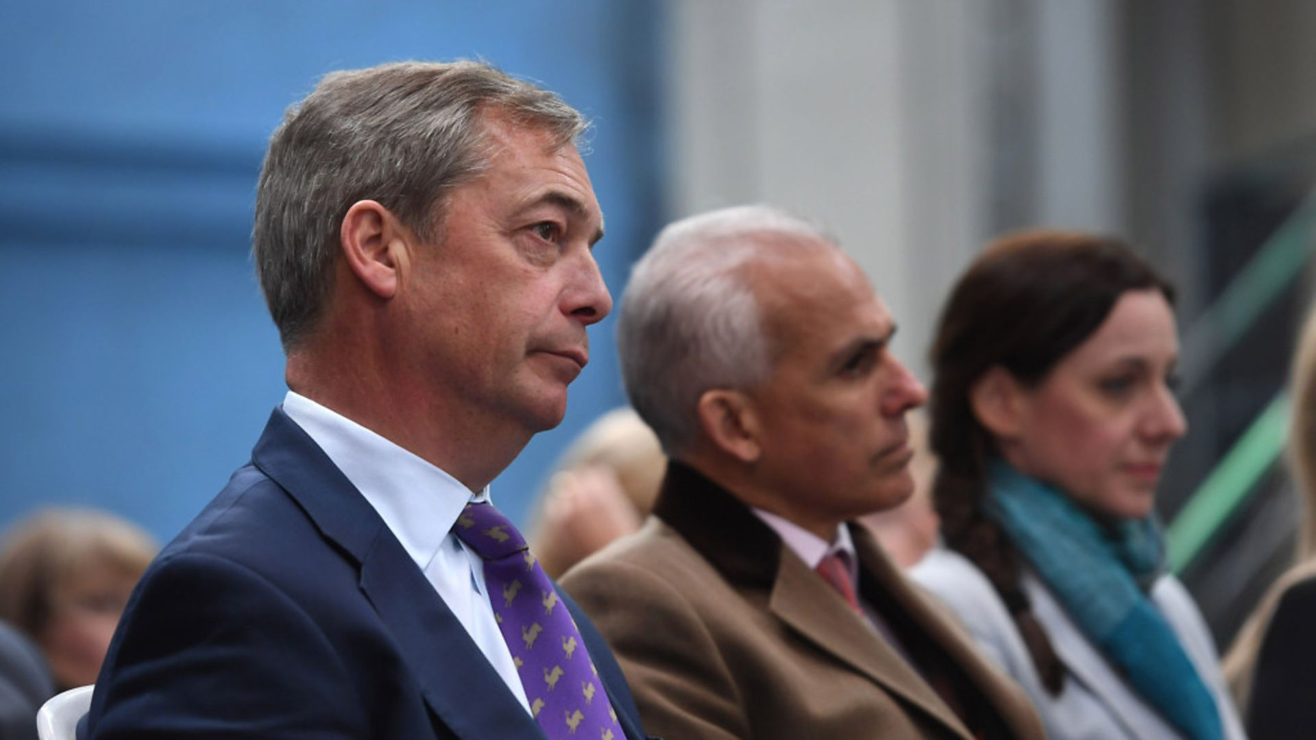 (left to right) Nigel Farage with former Brexit Party MEPs Ben Habib and Annunziata Rees-Mogg at the launch the European Parliament elections campaign in Coventry. - Credit: PA Wire/PA Images