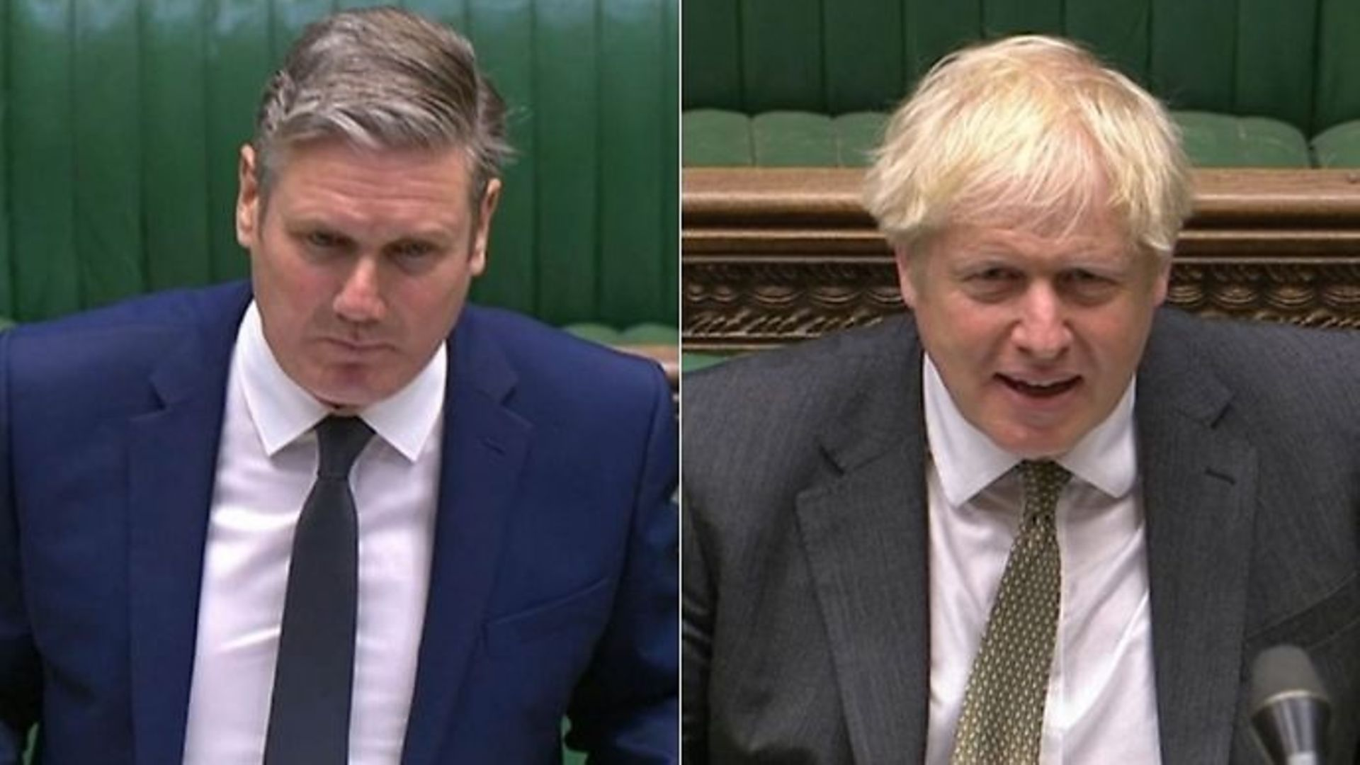 Labour leader Sir Keir Starmer (L) and Boris Johnson in the House of Commons.