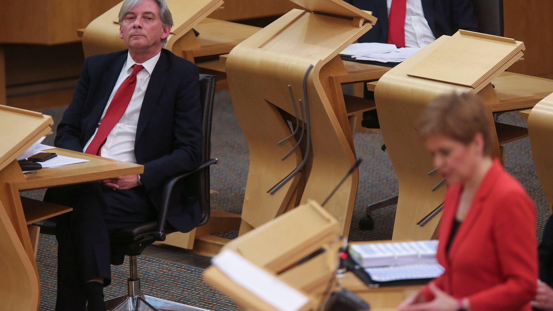 Richard Leonard MSP Scottish Labour Leader and Nicola Sturgeon MSP First Minister - Credit: Fraser Bremner-WPA Pool/Getty Images
