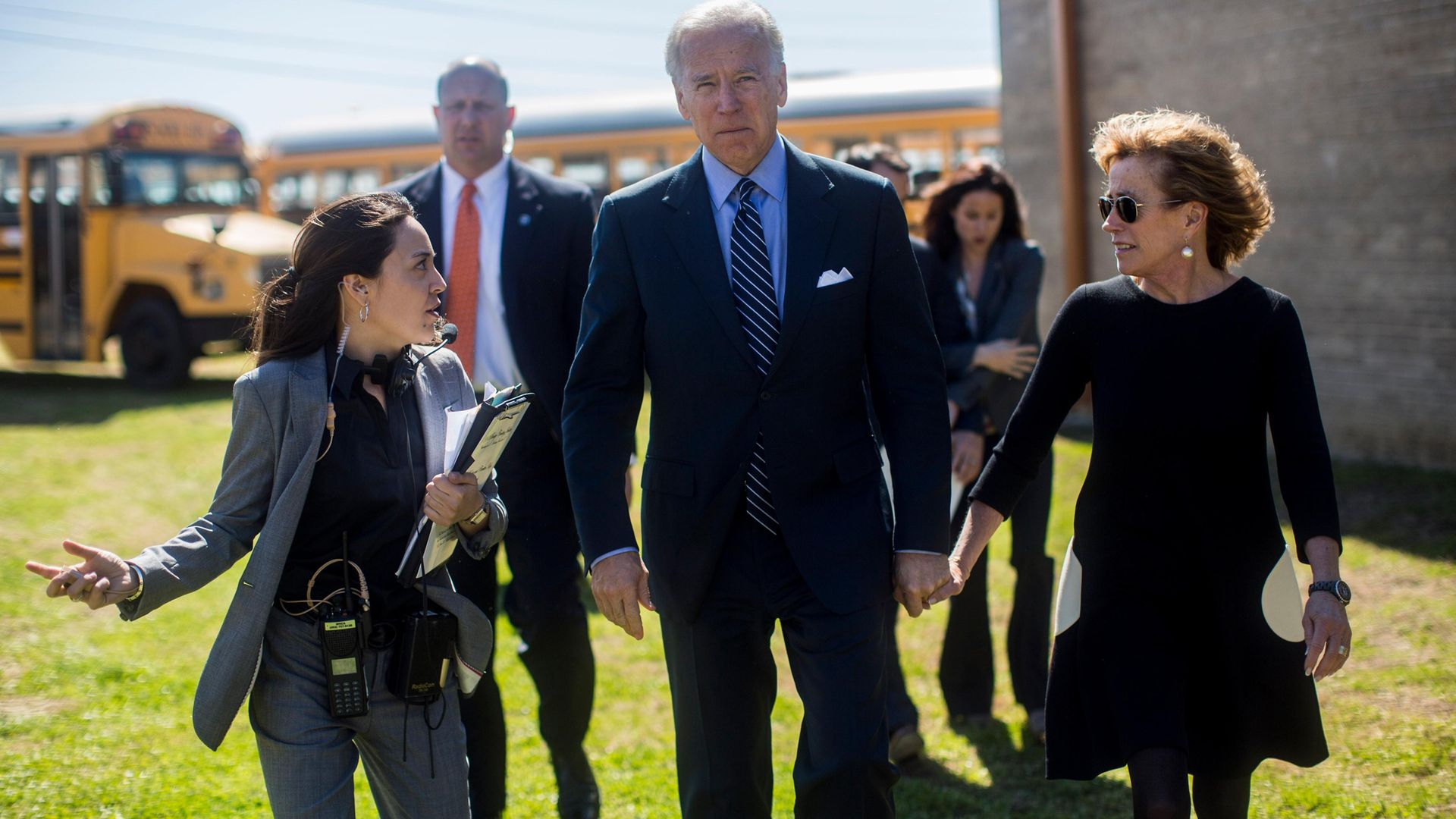 Joe Biden with his sister, Valerie Biden Owens, briefed by his staffer Liz Hart - Credit: The Washington Post via Getty Images