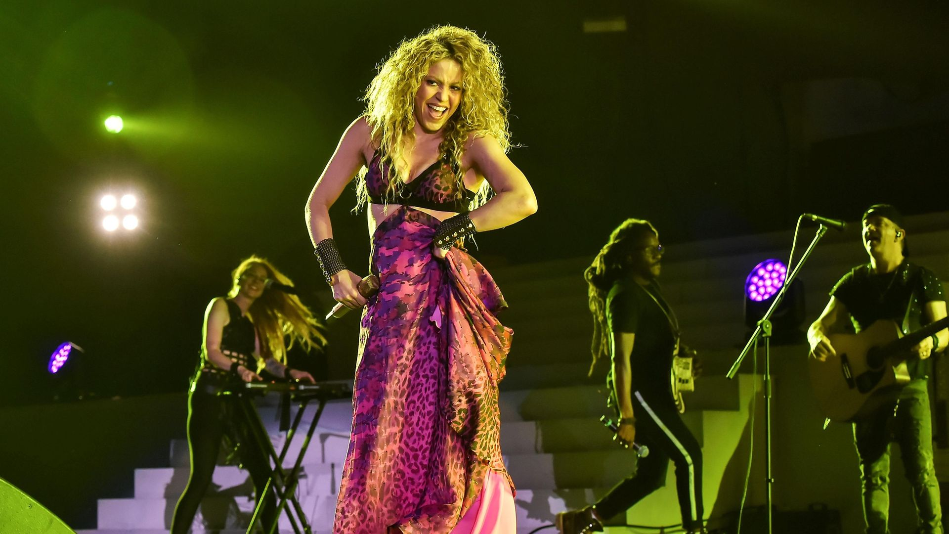 Colombian singer Shakira performs during the opening ceremony of the 2018 Central American and Caribbean Games (CAC) - Credit: AFP via Getty Images