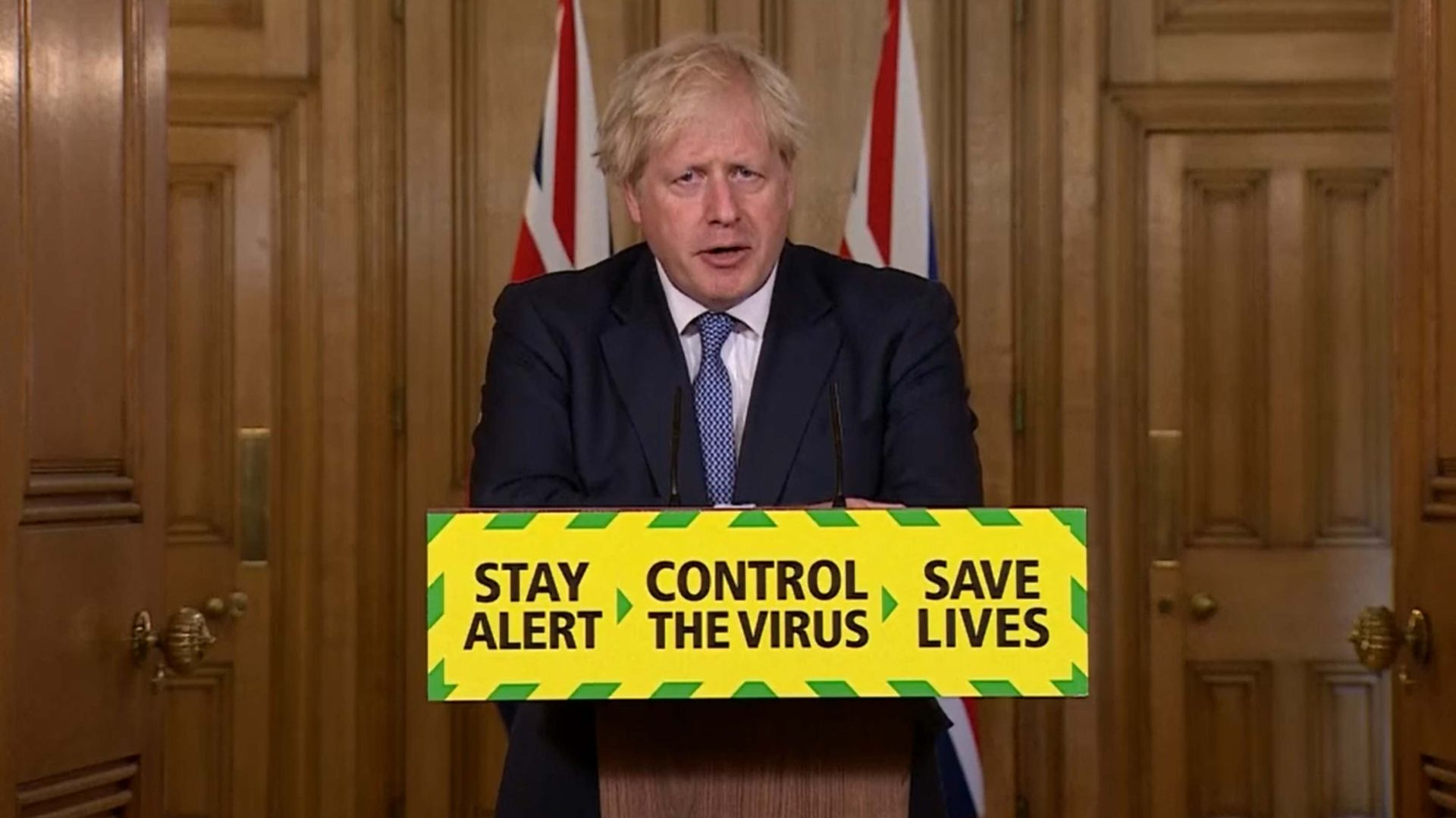 Prime minister Boris Johnson during a media briefing on coronavirus - Credit: PA