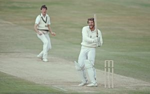 Ian Botham hits out at the bowling of Geoff Lawson during his 149* in the second innings of the third Ashes Test in 1981.