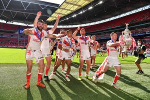 St Helens celebrate theirChallenge Cup final win overCastleford Tigers at Wembley in July.