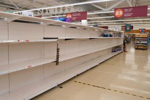 Empty shelves at a Sainsbury's store in Cardiff