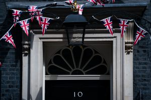 Union flag bunting on the front of No 10 Downing Street