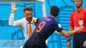 Louis van Gaal celebrates with Robin van Persie of the Netherlands during the 2014 World Cup finals. The Dutch came third in the tournament but have failed to qualify for the 2016 Euros and 2018 World Cup since.