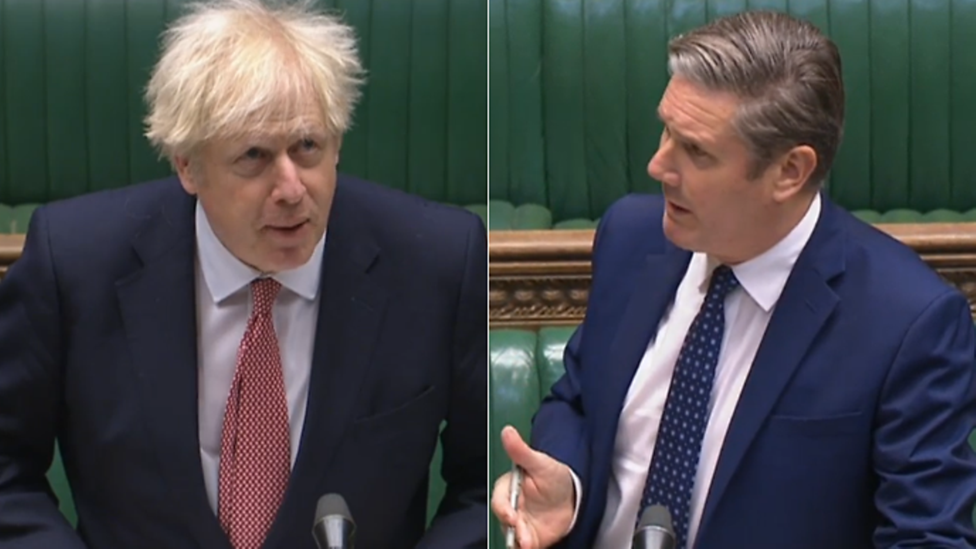 Boris Johnson (L) and Keir Starmer in the House of Commons during PMQs - Credit: Parliamentlive.tv