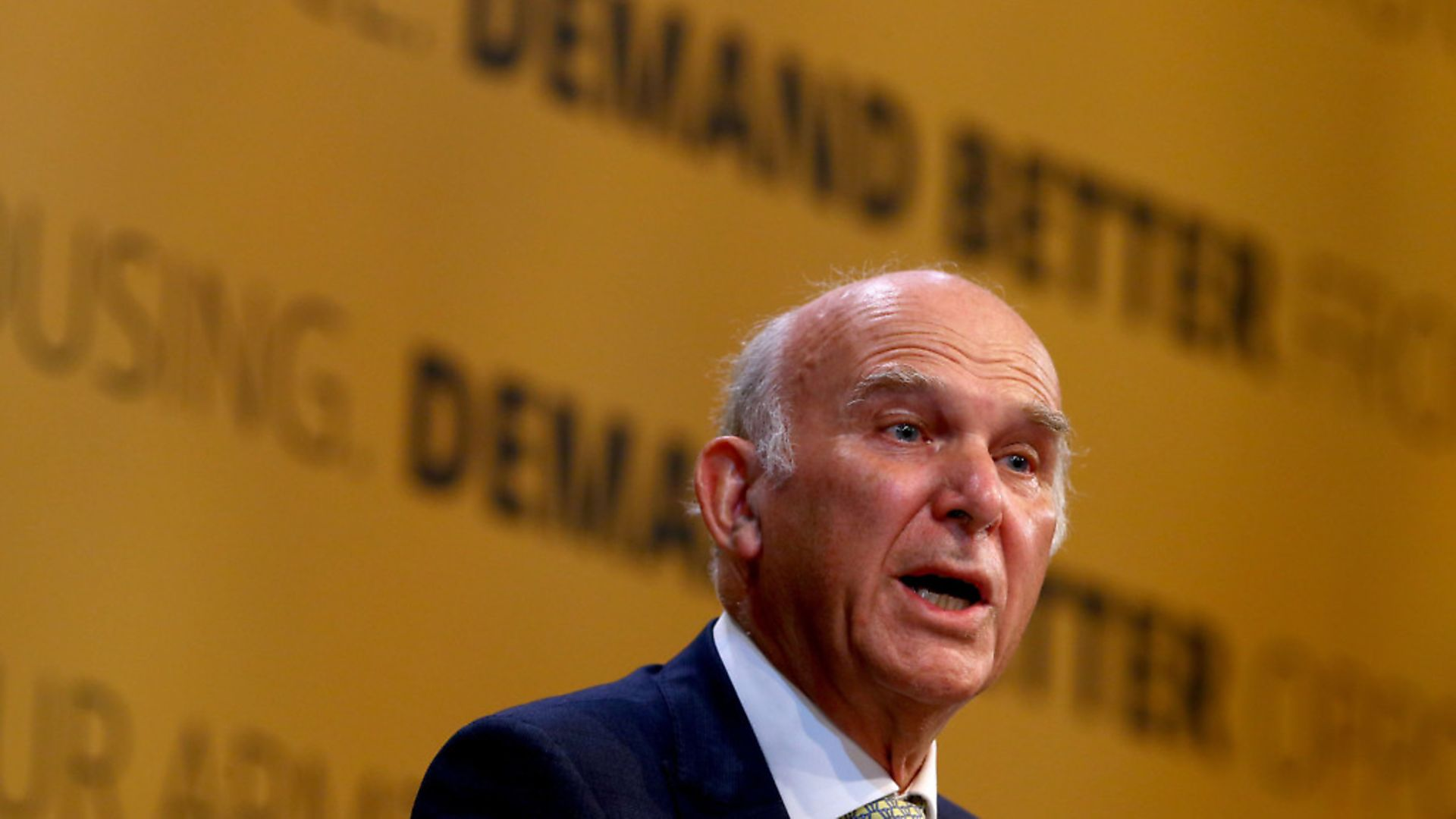 Liberal Democrats Leader Sir Vince Cable delivers his speech at the Liberal Democrats Autumn Conference at the Brighton Centre in Brighton Photo: PA / Gareth Fuller - Credit: PA Wire/PA Images