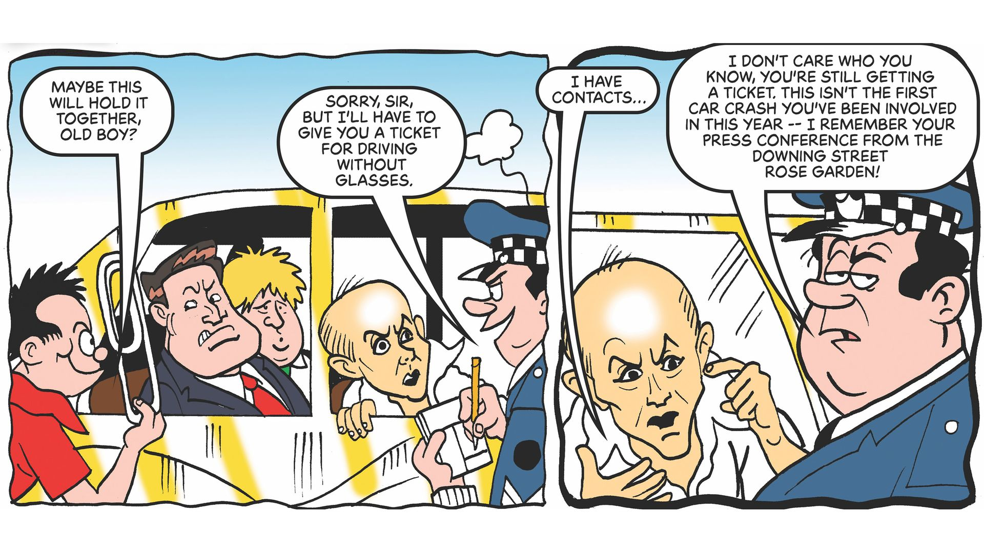 Dominic Cummings and Boris Johnson are mocked in a special edition of the Beano - Credit: PA