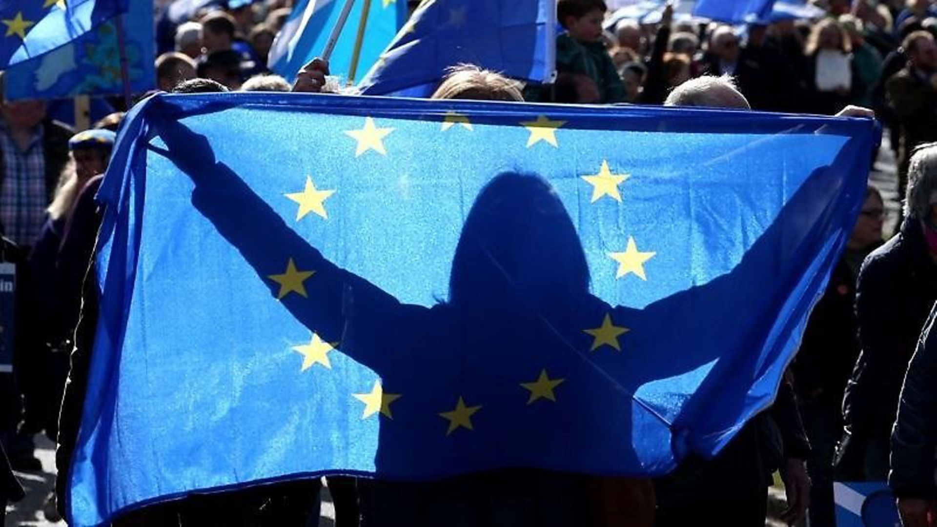 European flags symbolising freedom of movement - Credit: PA Images