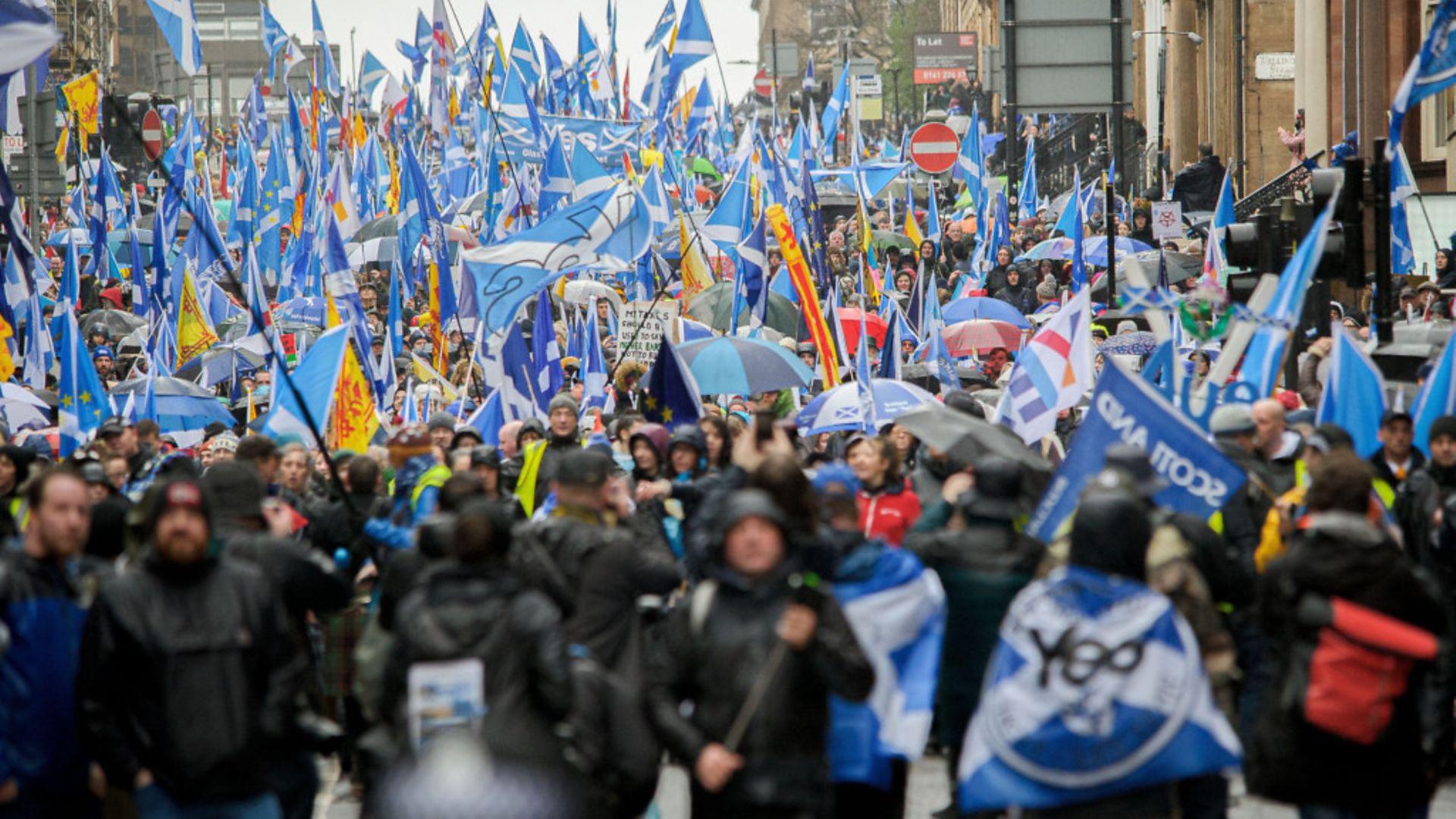Unstoppable march? Scottish independence demonstrators in Glasgow, in January 2020 - Credit: SOPA Images/LightRocket via Gett