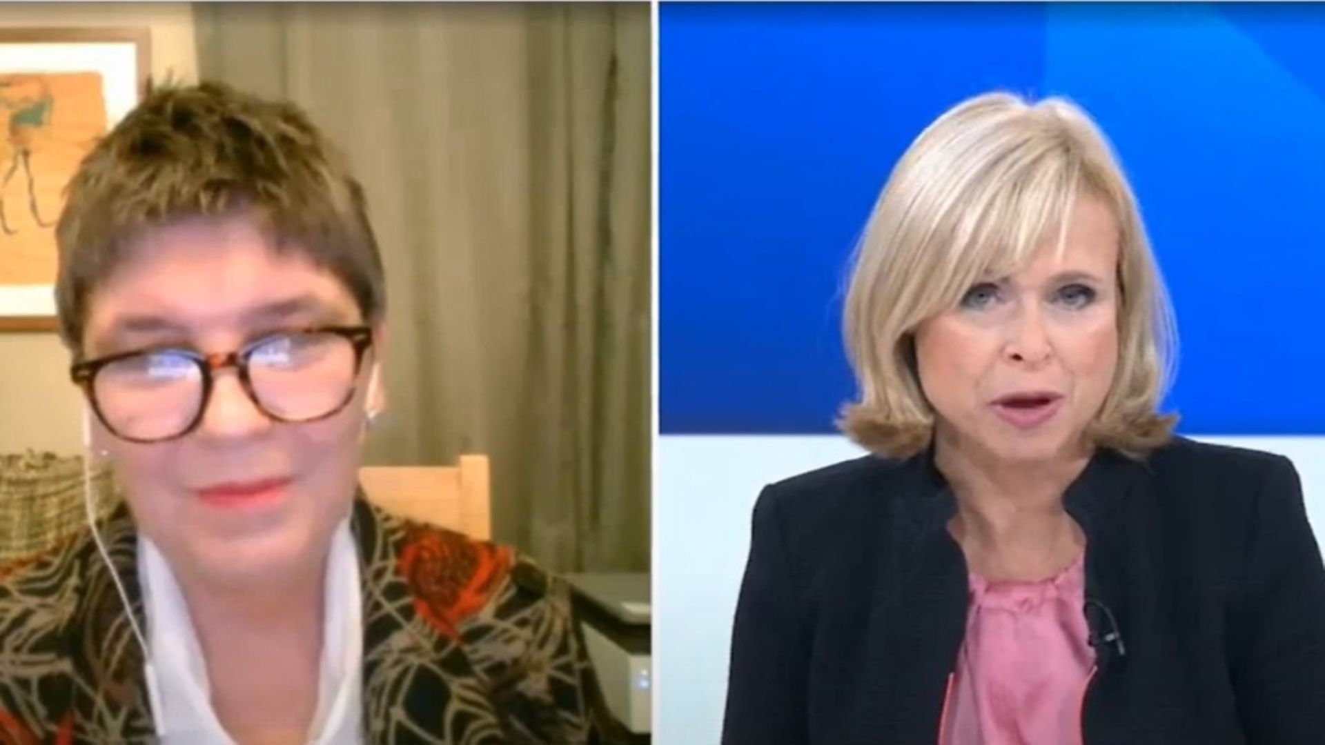 Claire Fox tells Sky News presenter Anna Botting that coverage of Brexit needs to be more positive - Credit: Sky News