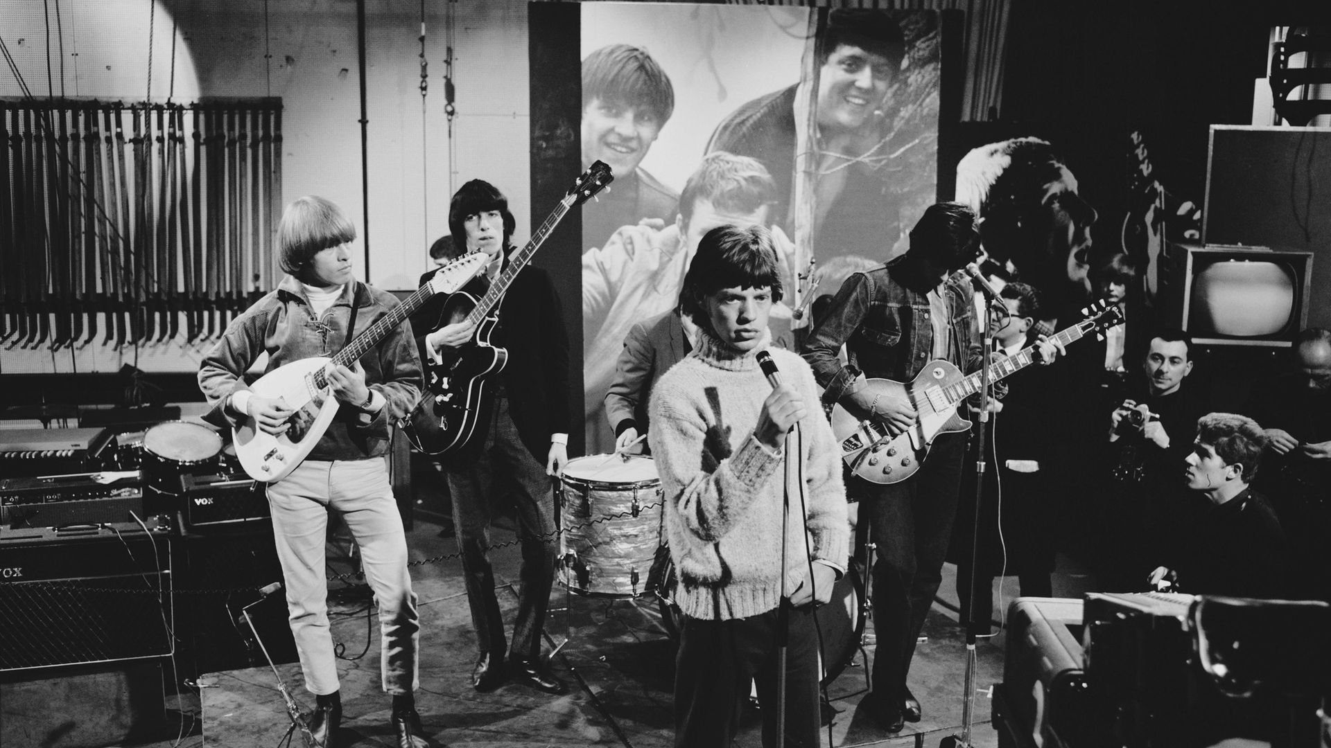 The Rolling Stones rehearsing for an appearance on Ready Steady Go! in 1965. Left to right: Brian Jones, Bill Wyman, Mick Jagger and Keith Richards - Credit: Getty Images