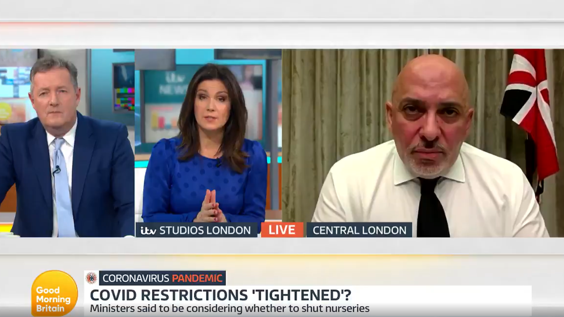 Nadhim Zahawi answers questions on Good Morning Britain - Credit: ITV