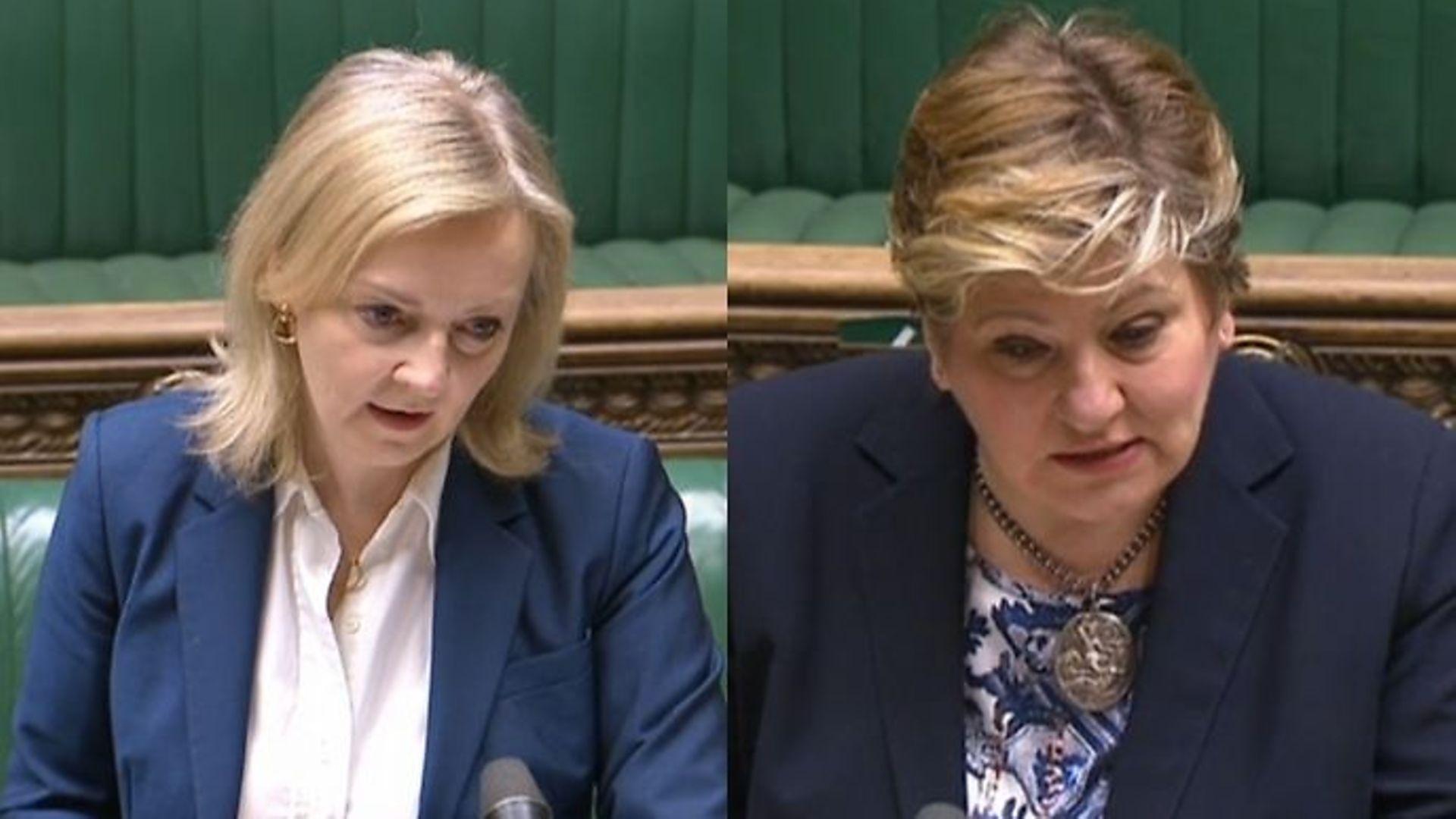 Liz Truss and Emily Thornberry debate Brexit deals - Credit: Parliament Live