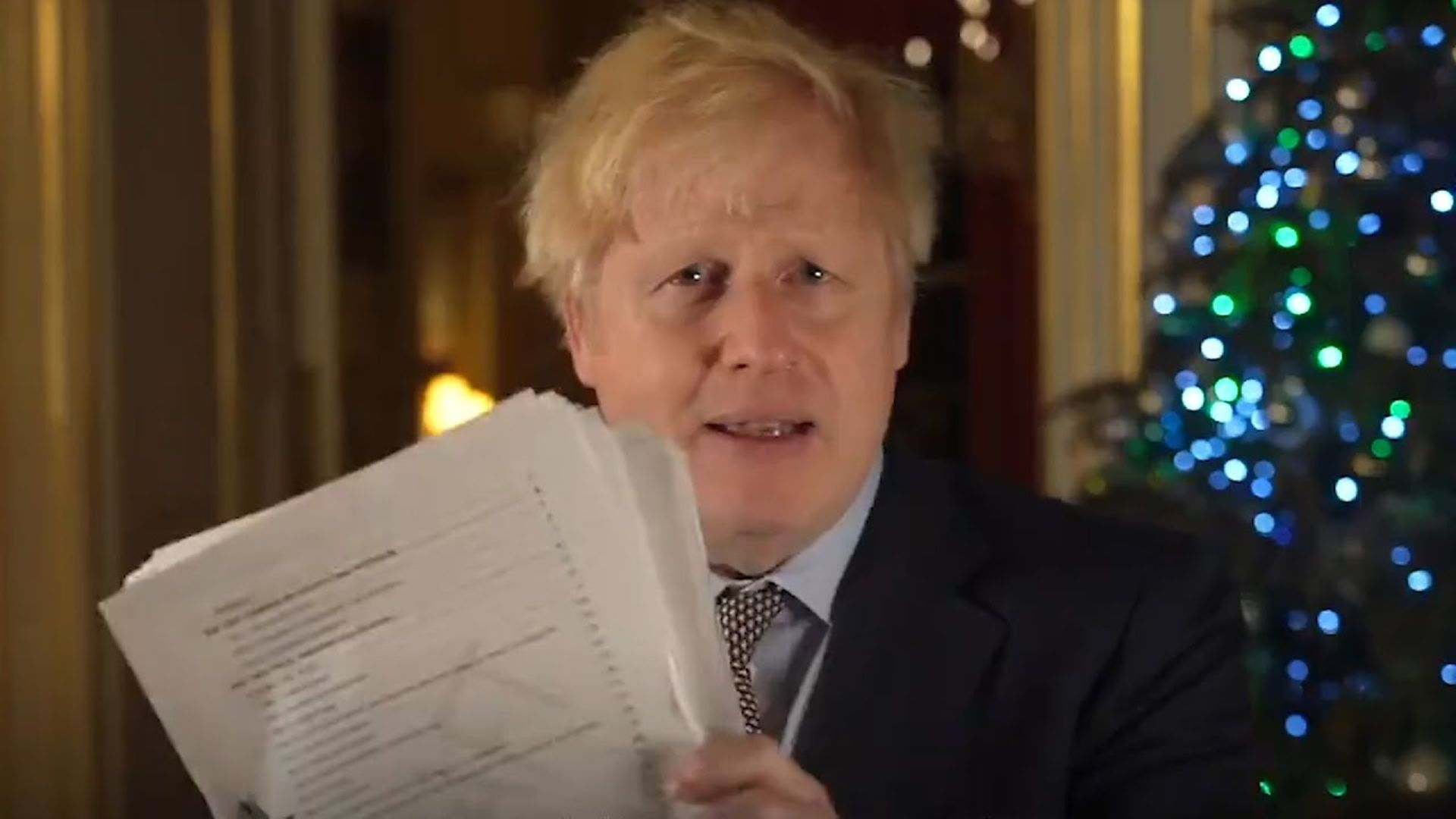 Boris Johnson with his Brexit deal - Credit: Number 10/Twitter