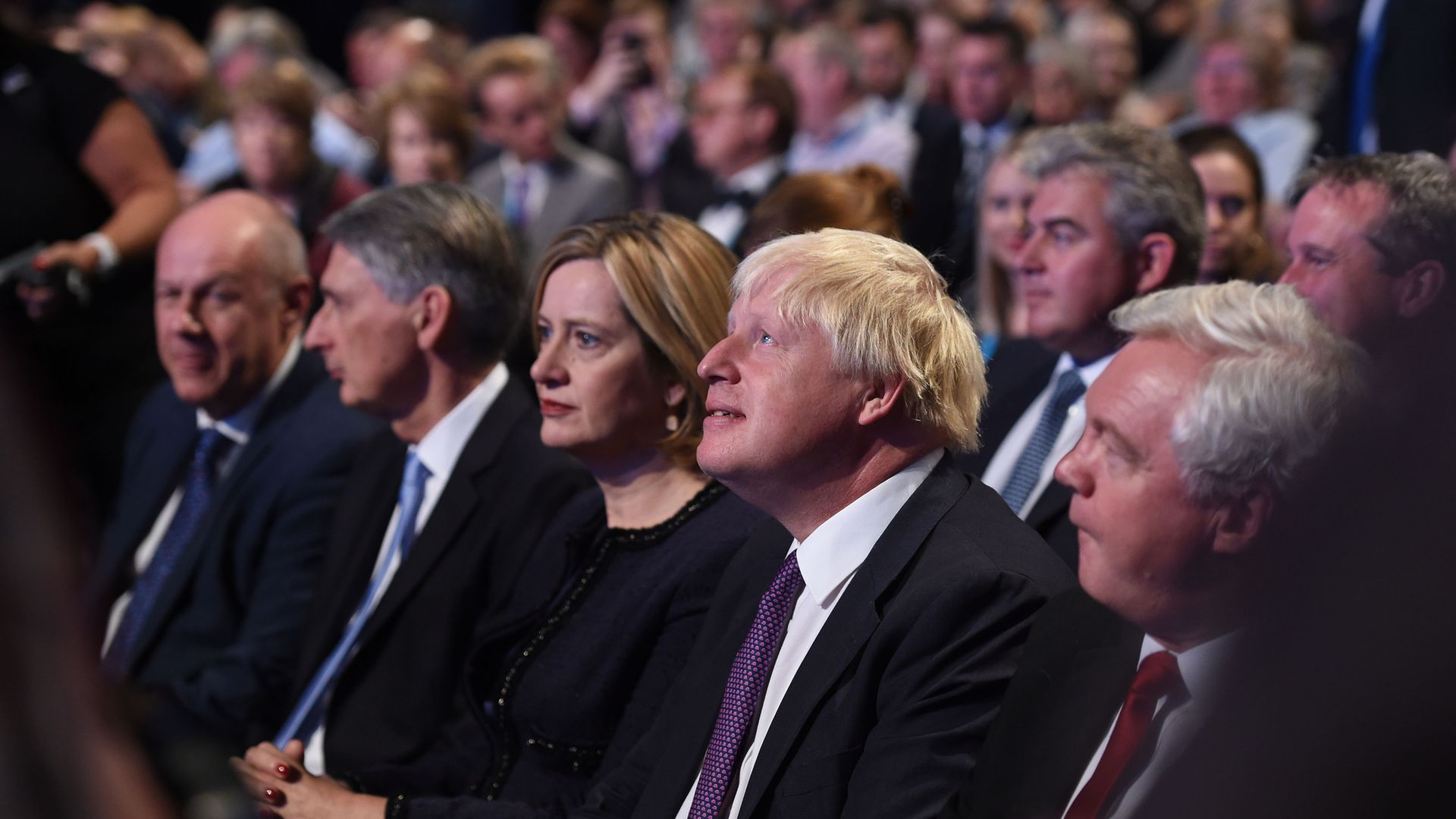 Former home secretary Amber Rudd (L) and Boris Johnson at a Conservative Party Conference at the Manchester Central Convention Complex in Manchester - Credit: PA